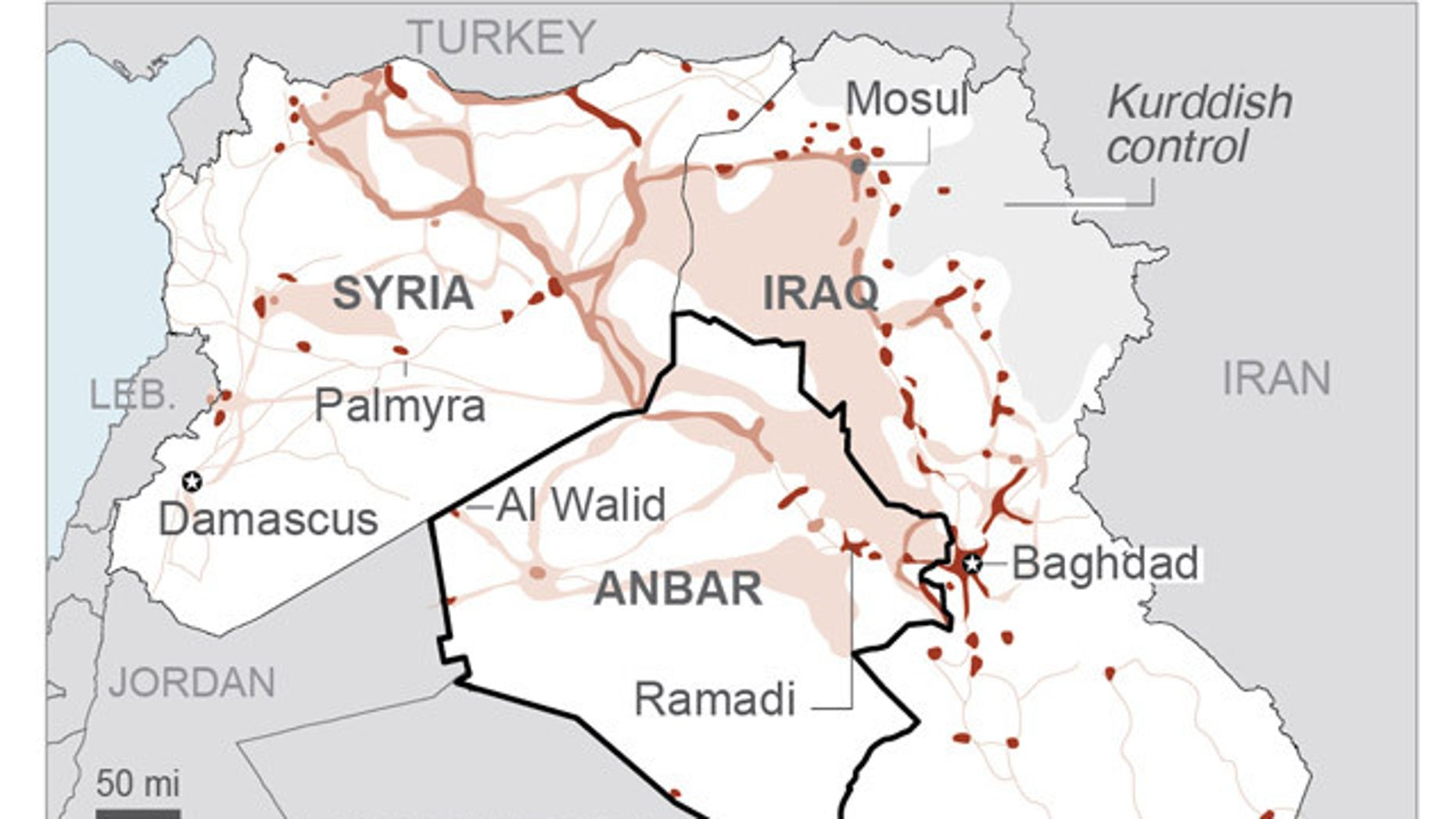 A map showing the location of ISIS' control.