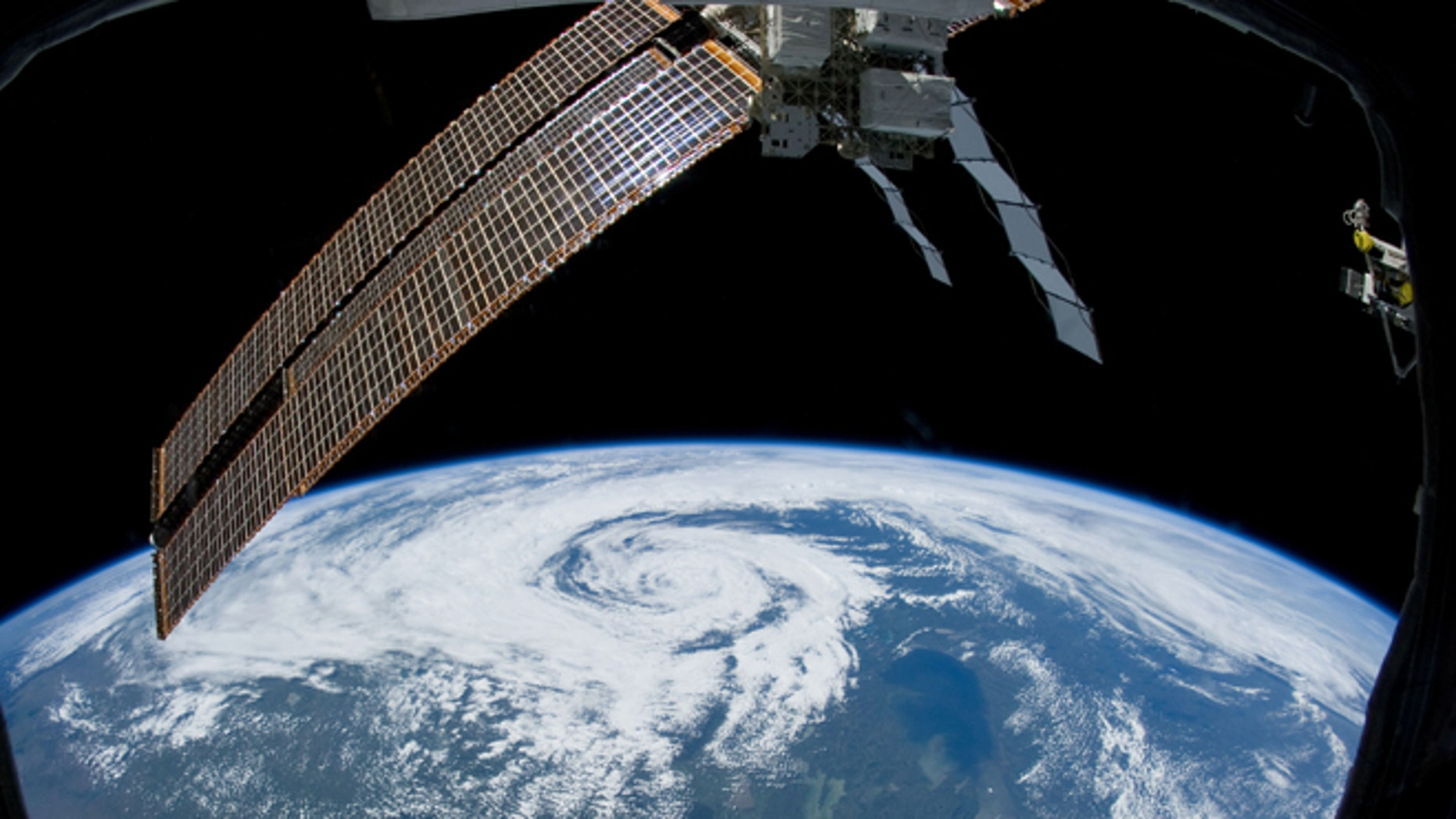 This June 27, 2012 photo released by NASA shows a view aboard the International Space Station, about 240 miles above Earth, featuring a non-tropical cyclone located over northern Saskatchewan, Canada.