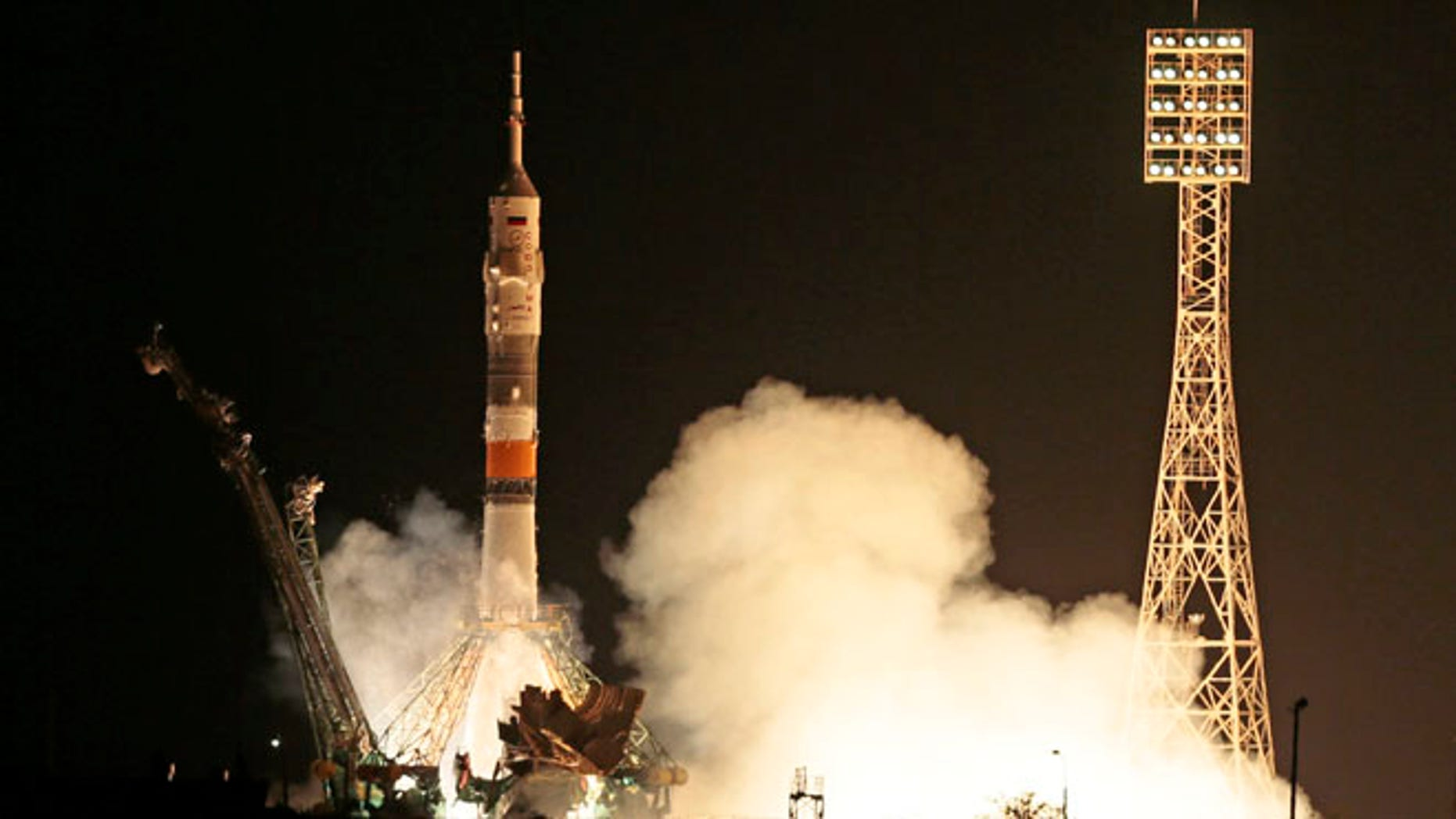 May 28, 2013: The Soyuz-FG rocket booster with Soyuz TMA-09M space ship carrying a new crew to the International Space Station, ISS, blasts off at the Russian leased Baikonur cosmodrome, Kazakhstan.