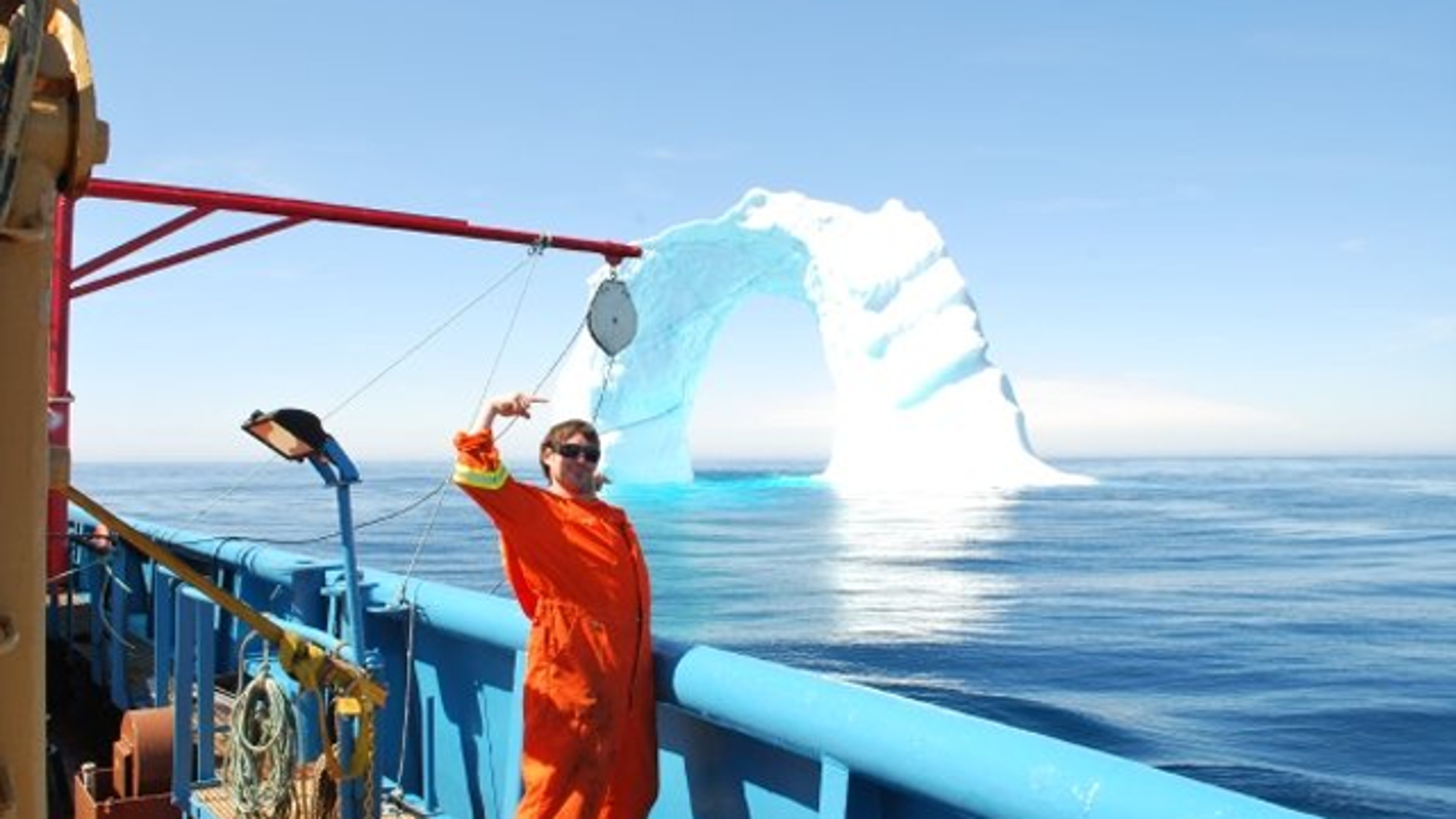 Strange sighting: an iceberg archway, floating in the middle of the Atlantic Ocean.