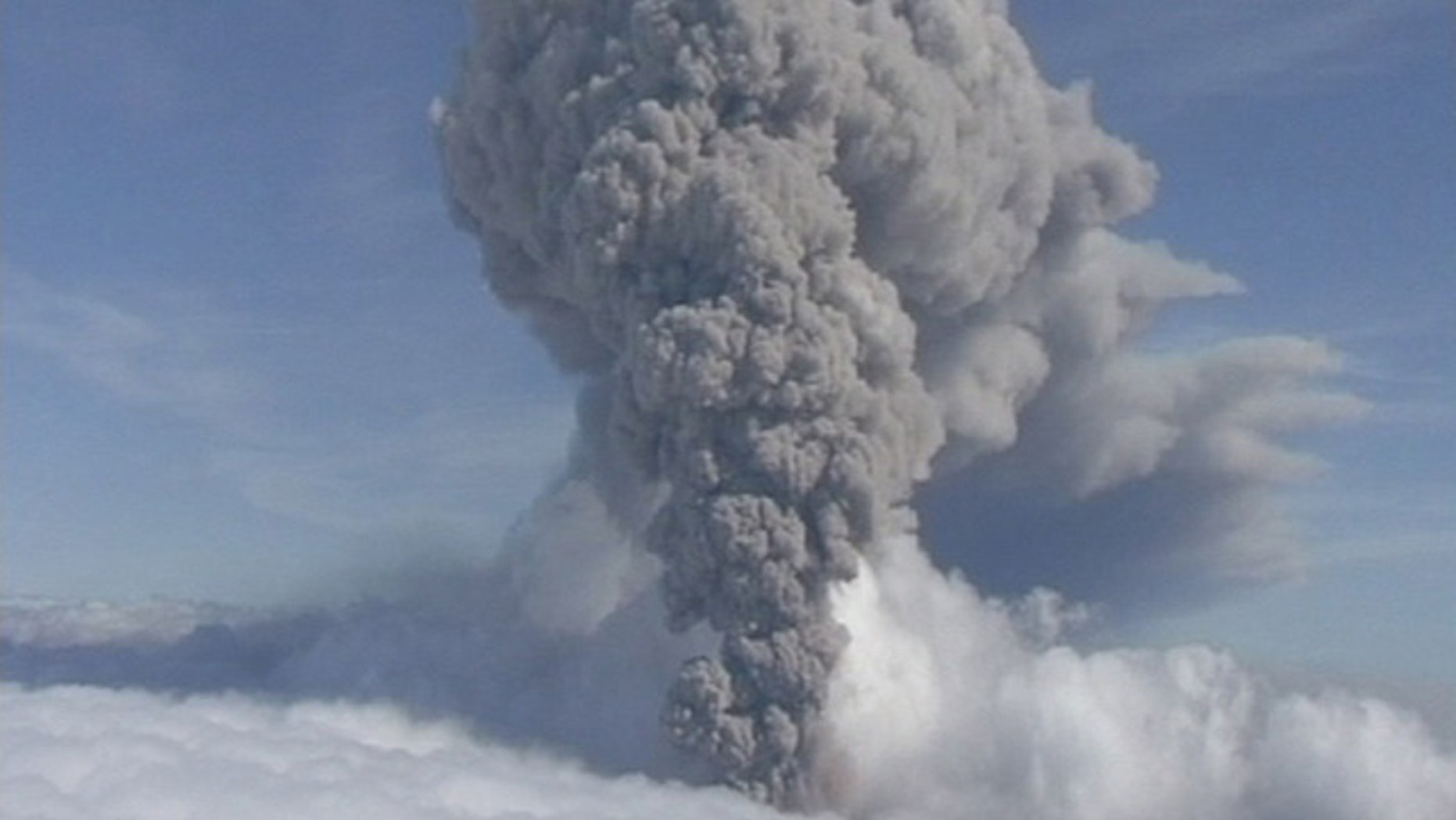 FILE-- This is a Saturday, May 8, 2010 file image taken from video of a column of ash rising from Iceland's Eyjafjallajokul volcano. (AP Photo/ APTN)