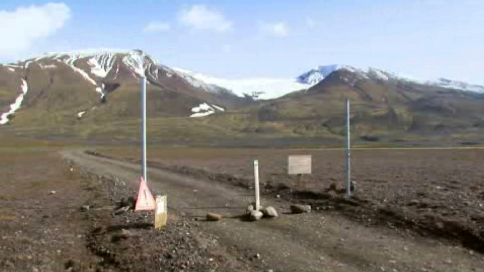 A sign is posted on the road next to Bardarbunga, a subglacial stratovolcano located under Iceland's largest glacier.