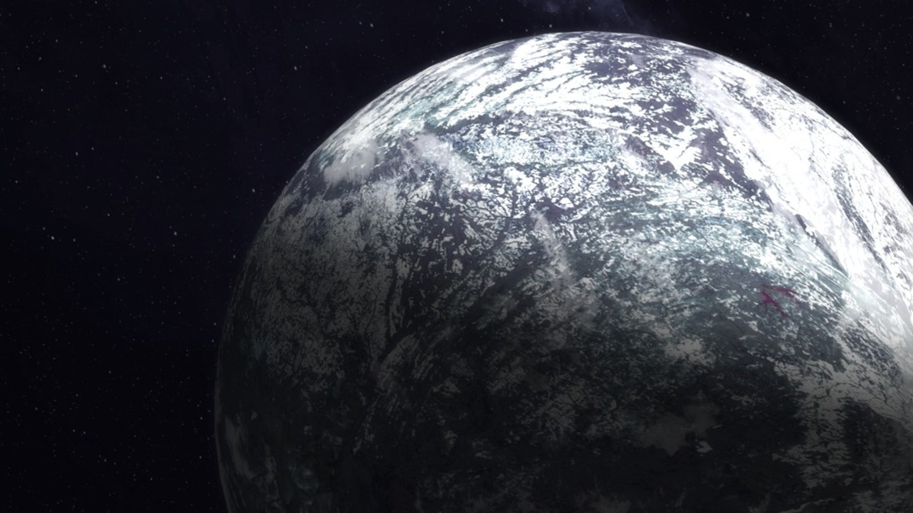 An artist's illustration of an ice- and snow-covered exoplanet.