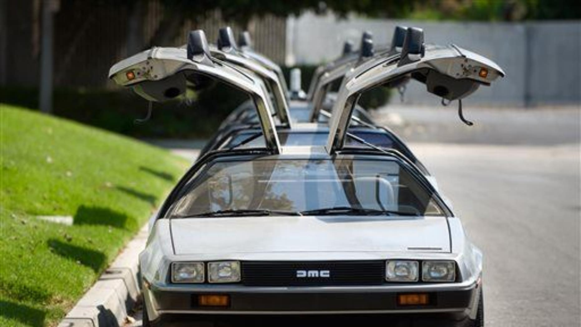 This photo shows DeLoreans parked outside The DeLorean Motor Company in Huntington Beach, Calif.
