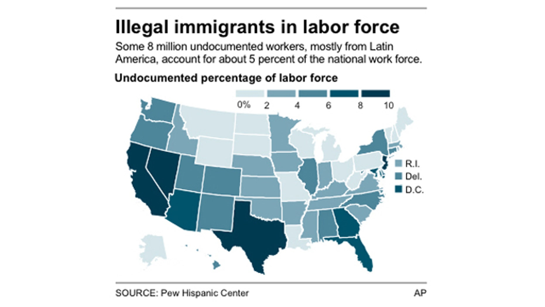 Map shows the undocumented percentage of labor force by state.