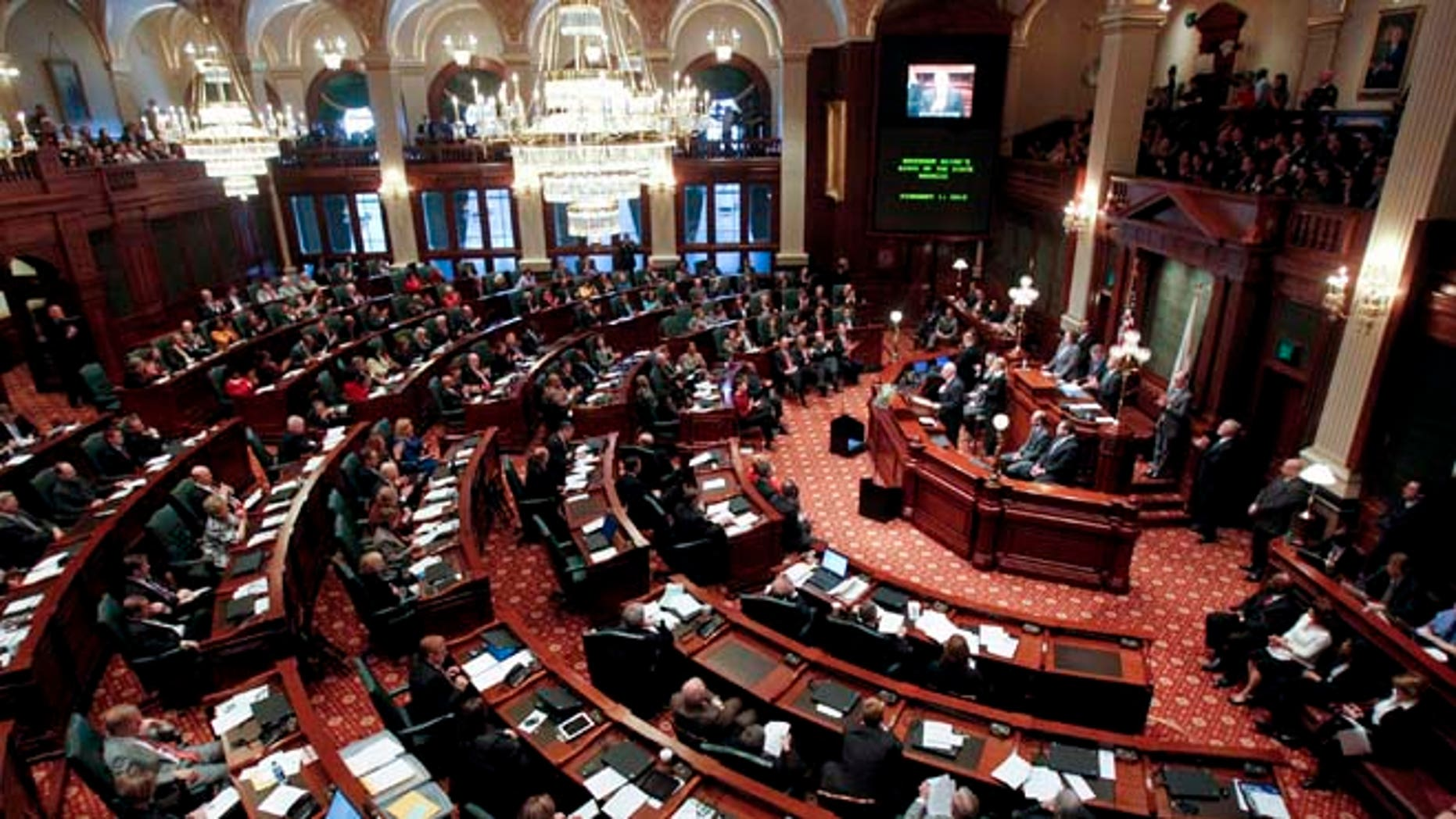 This Feb. 1, 2012 file photo shows the House Chambers of the Illinois State Capitol in Springfield, Illinois.