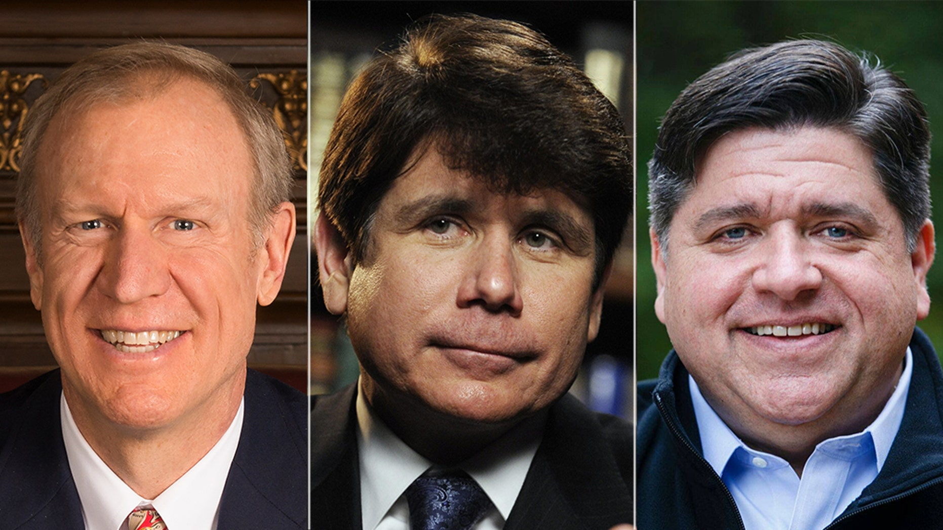 Illinois Gov. Bruce Rauner, left, is in a tough race against Democratic challenger J.B. Pritzker, right, who has ties to ex-Gov. Rod Blagojevich.