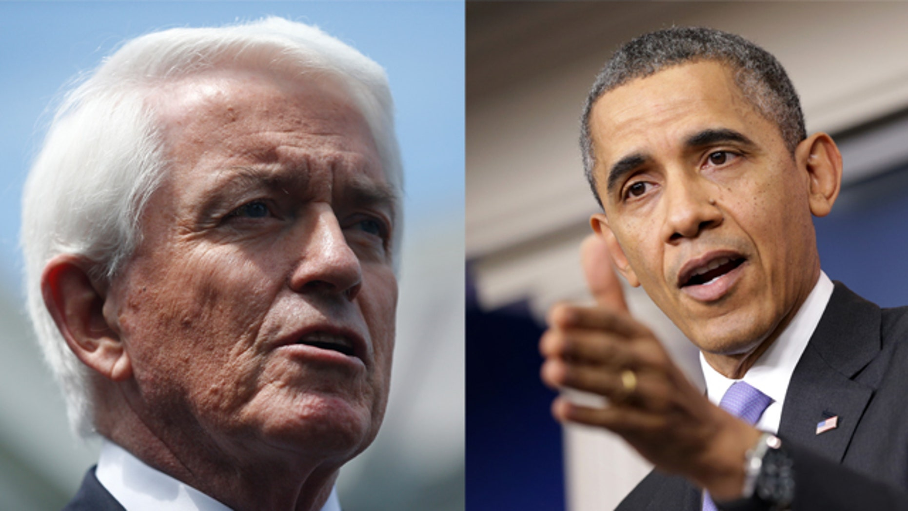 """(left) In this June 11, 2013 file photo, US Chamber of Commerce President Tom Donohue speaks to reporters outside the White House in Washington. Donohue says the nation's biggest business lobby intends to """"pull out all the stops"""" to pass an overhaul of immigration laws. (Right) President Barack Obama. (AP Photo/Charles Dharapak, File)"""