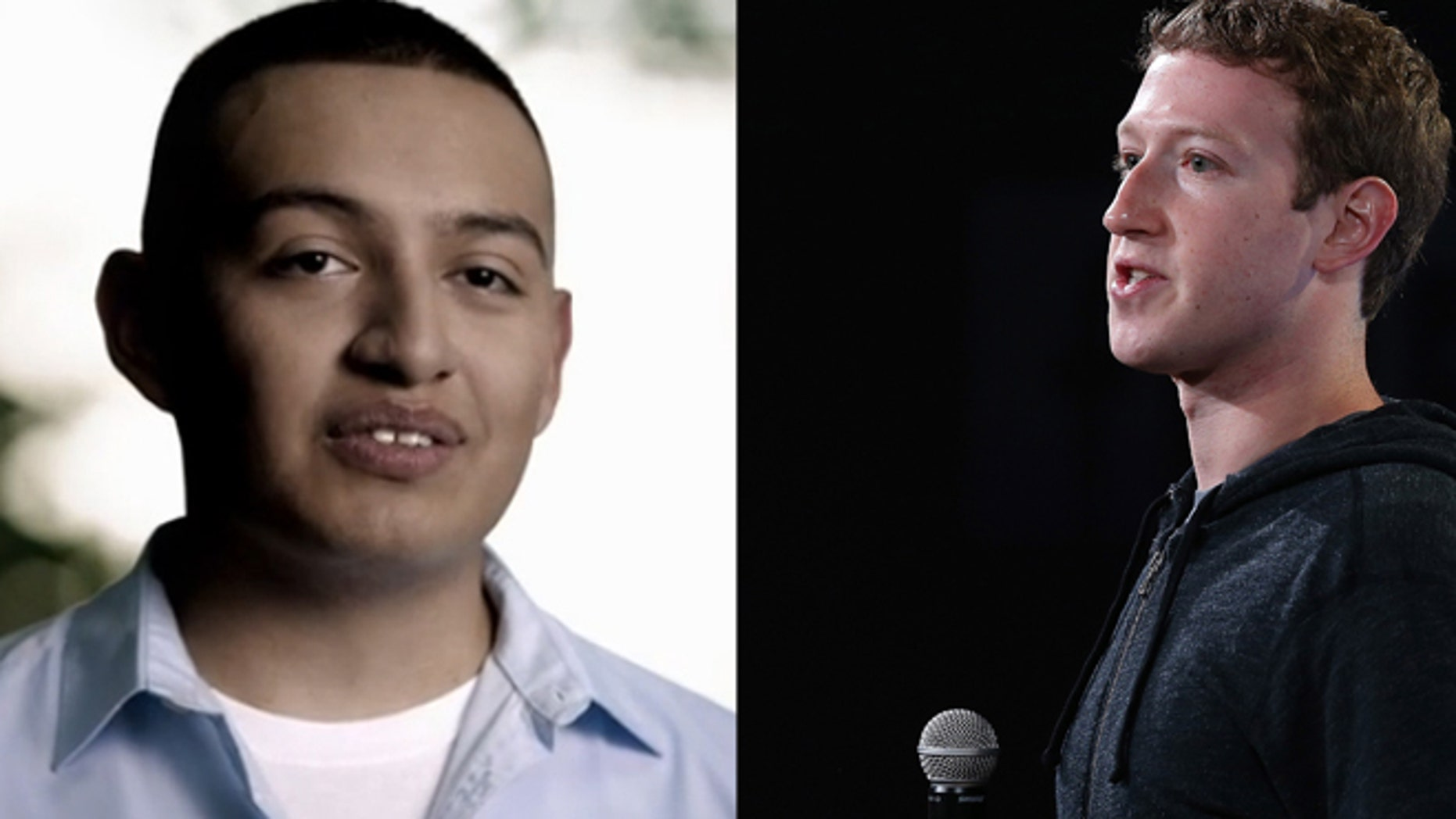 """Alejandro Morales (left) an undocumented immigrant and star of Facebook CEO Mark Zuckerberg (right) backed pro-immigration commercial entitled """"serve."""""""