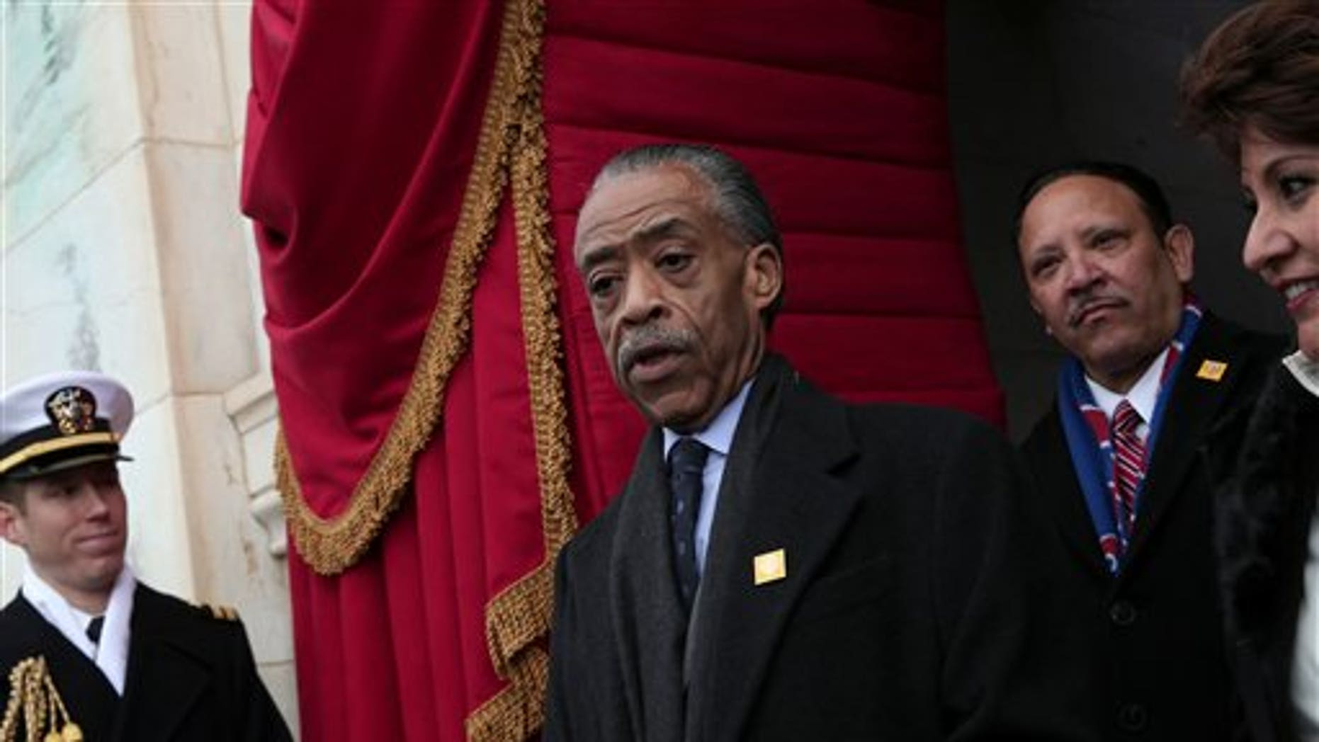 Jan. 21, 2013: Rev. Al Sharpton arrives on the West Front of the Capitol in Washington, Monday, , for the President Barack Obama's ceremonial swearing-in ceremony during the 57th Presidential Inauguration.