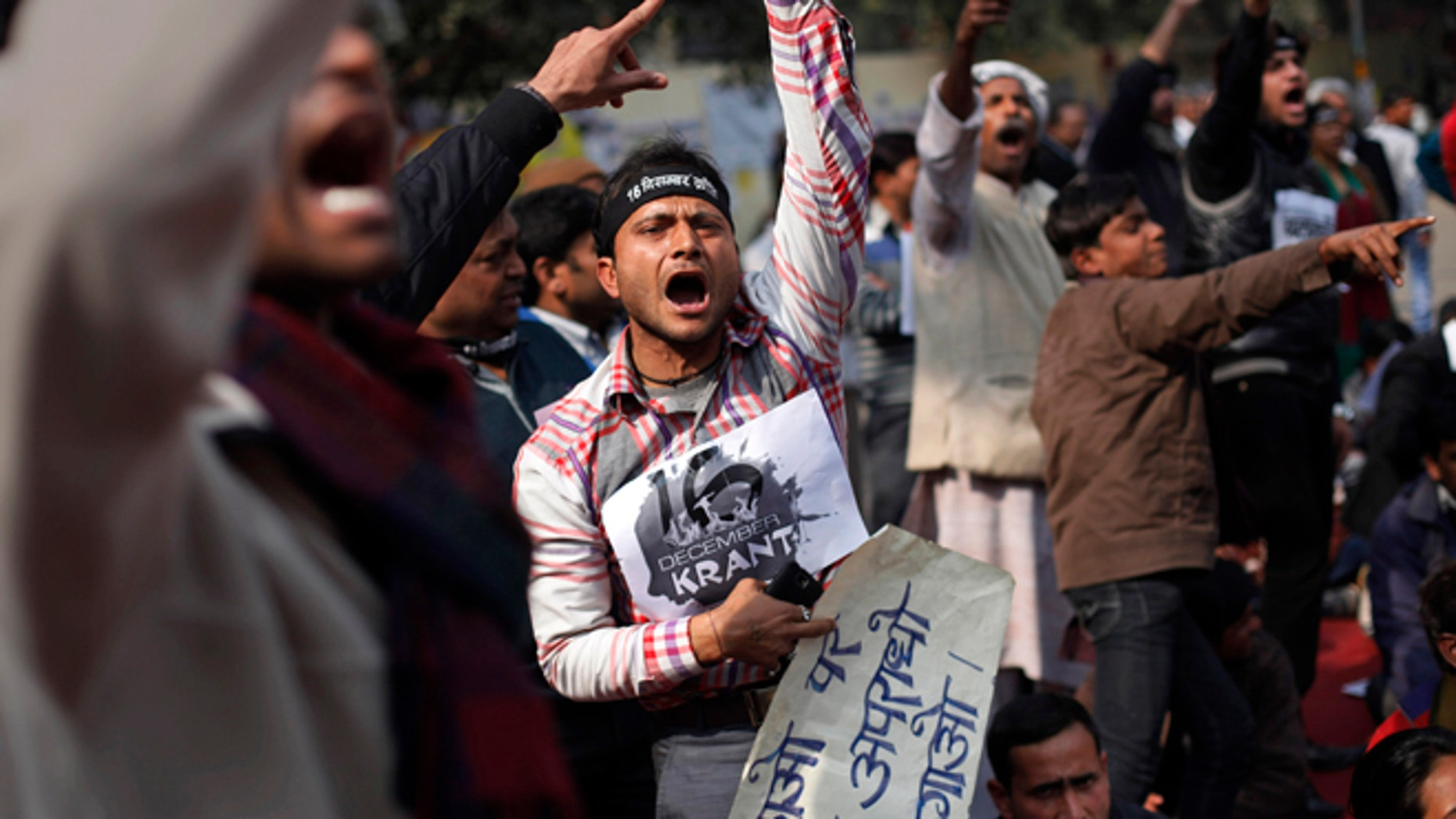 Jan. 29: Indians shout slogans during a protest demanding the death penalty for six men accused of the fatal gang rape of a young woman in New Delhi last month.