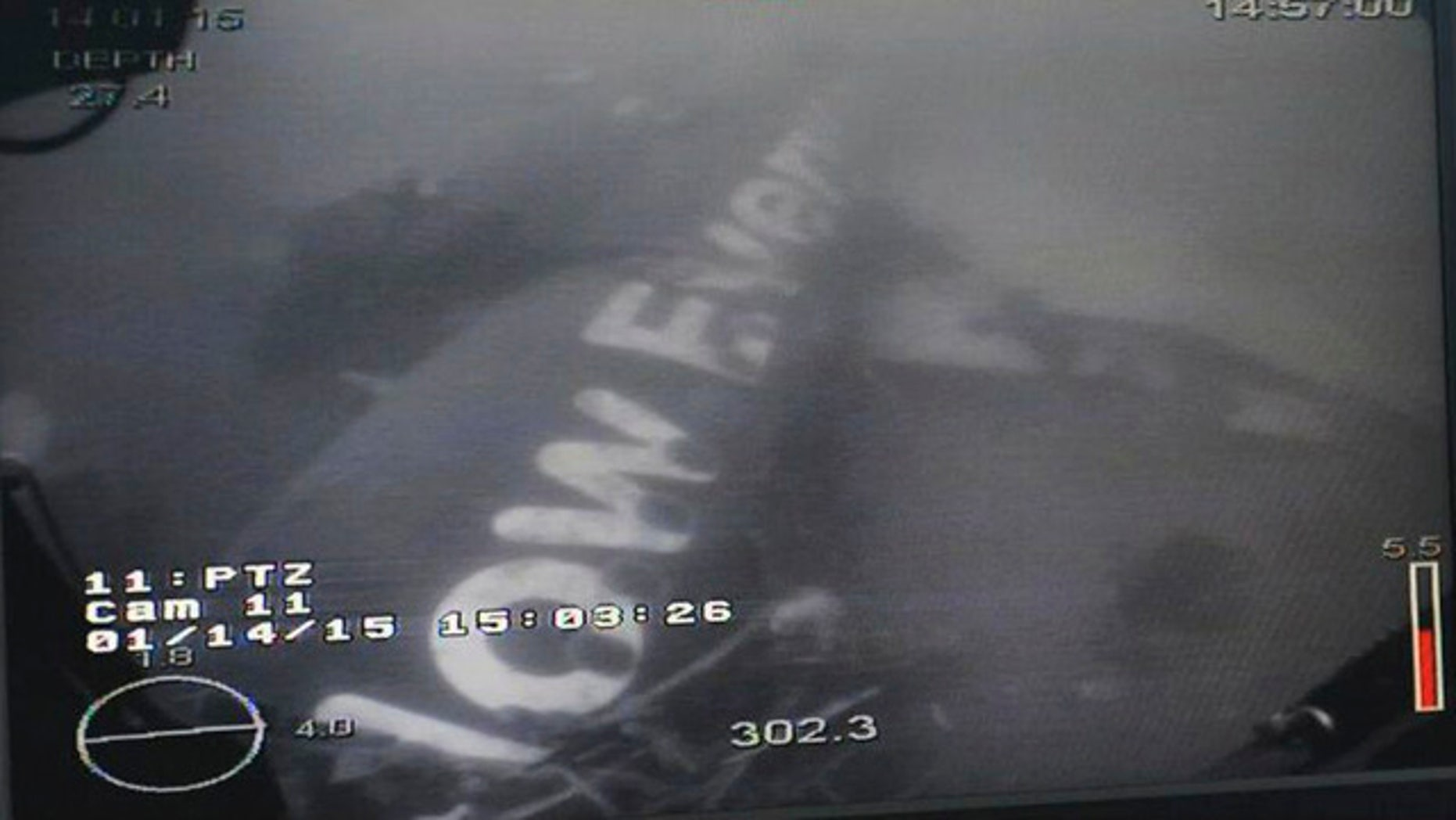 This undated underwater photo taken by a Remotely Operated Vehicle (ROV) and released by the Singapore Ministry of Defense (MINDEF) shows the wreckage of AirAsia Flight QZ 8501 lying on the sea floor in the Java Sea. (AP Photo/MINDEF)