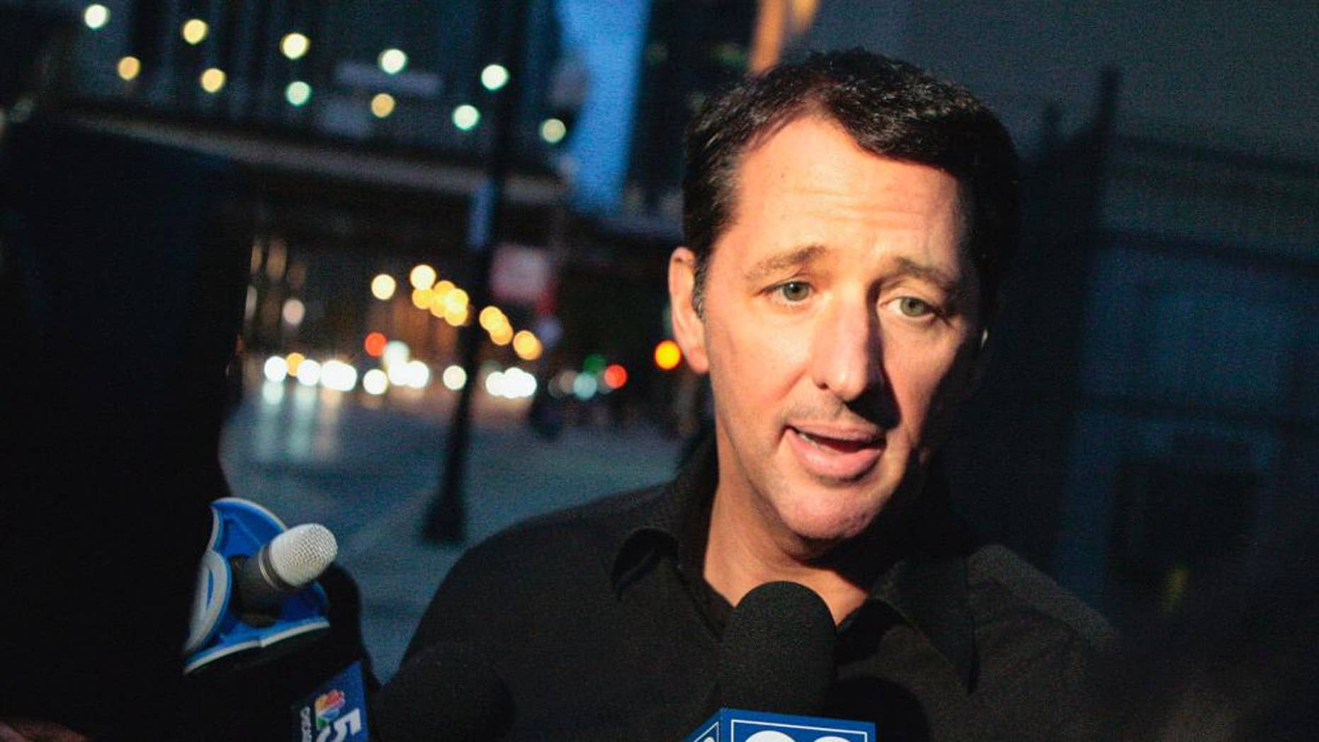 "FILE - In this Oct. 28, 2013 file photo, television infomercial pitchman Kevin Trudeau speaks to the media after leaving the Metropolitan Correctional Center in downtown Chicago. On Monday, March 17, 2014, a federal judge in Chicago is scheduled to sentence Trudeau for bilking consumers through his infomercials. In November 2013, jurors convicted Trudeau for defying a court order barring him from running infomercials that made false claims about his book, ""The Weight Loss Cure They Don't Want You to Know About."" (AP Photo/Sun-Times Media, Michael Jarecki) MANDATORY CREDIT, MAGS OUT, NO SALES"