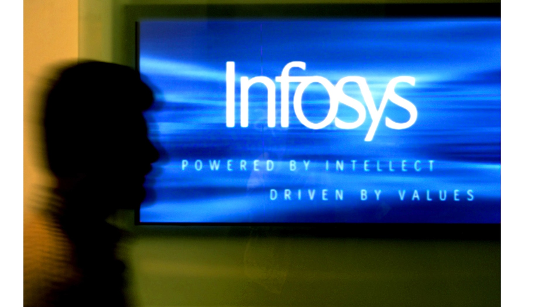 A man walks past a billboard of Infosys Technologies Ltd's office inBangalore, capital of the southern state of Karnataka, October 10,2003. Infosys reported on Friday its quarterly earnings rose 33 percenton the global boom in outsourcing and raised its profit forecast.REUTERS/Jagadeesh NVKK/FA