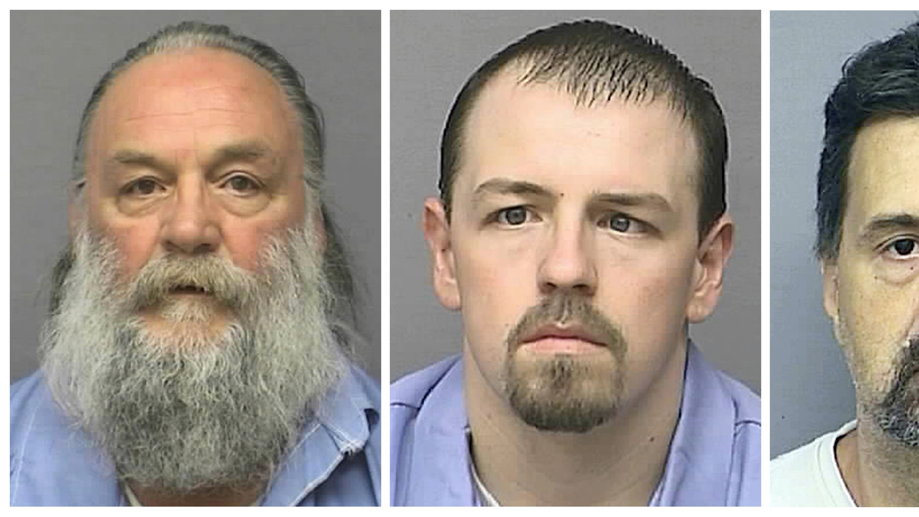 May 10, 2013: This photo combo of undated images provided by the Kansas Department of Corrections shows inmates, from left, Randy A. Ridens Sr., Allen M. Hurst and Scott A. Gilbert.