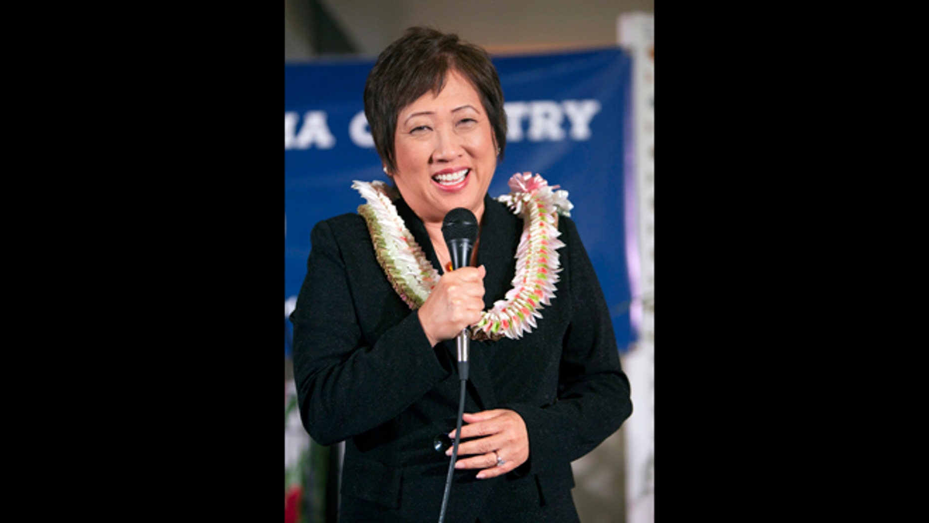 In this Nov. 6, 2012 file photo, Democrat Colleen Hanabusa speaks after winning Hawaii 1st Congressional district seat at the Japanese Cultural Center in Honolulu.