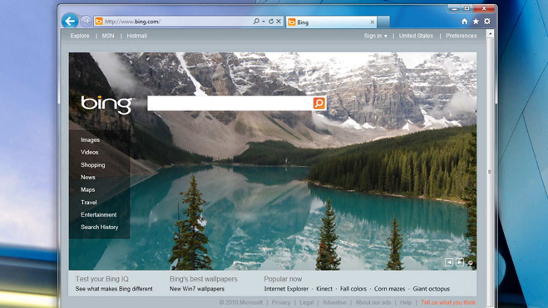 The Internet Explorer 9 browser pays a visit to the homepage of Microsoft's Bing search engine.