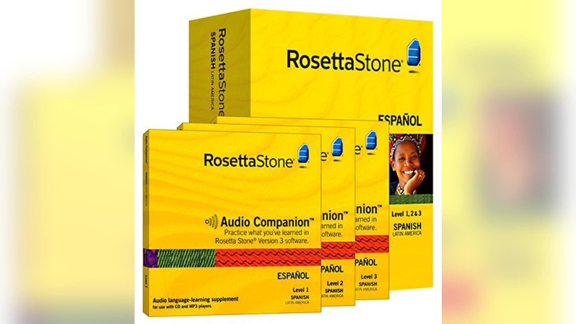 Rosetta Stone Spanish software is shown.
