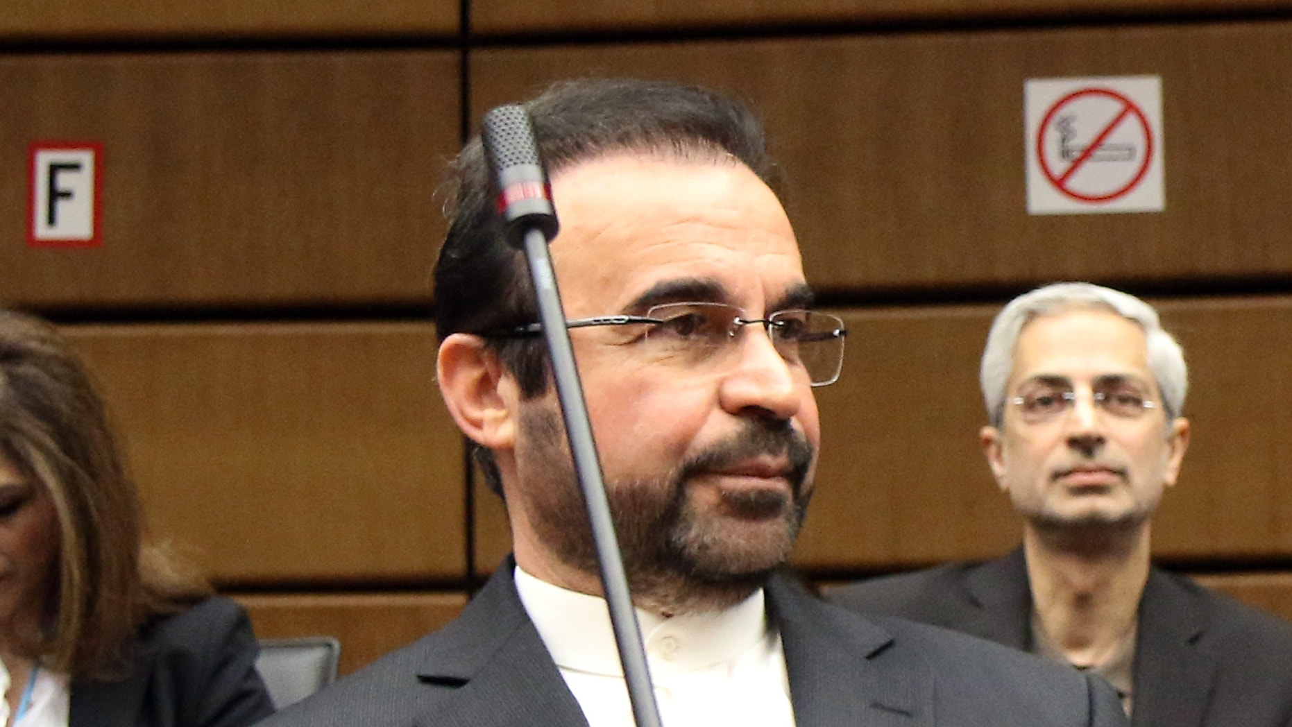 March 3, 2014 - Iran's Ambassador to the International Atomic Energy Agency, IAEA, Reza Najafi waits for the start of the IAEA board of governors meeting at the International Center in Vienna, Austria. The head of the U.N. nuclear agency says Iran has cut its stock of uranium that is closest to atomic weapons-grade. Under an interim deal with six world powers, Iran is to dilute half of its 20-percent-enriched uranium to a lower grade suitable for use as reactor fuel.