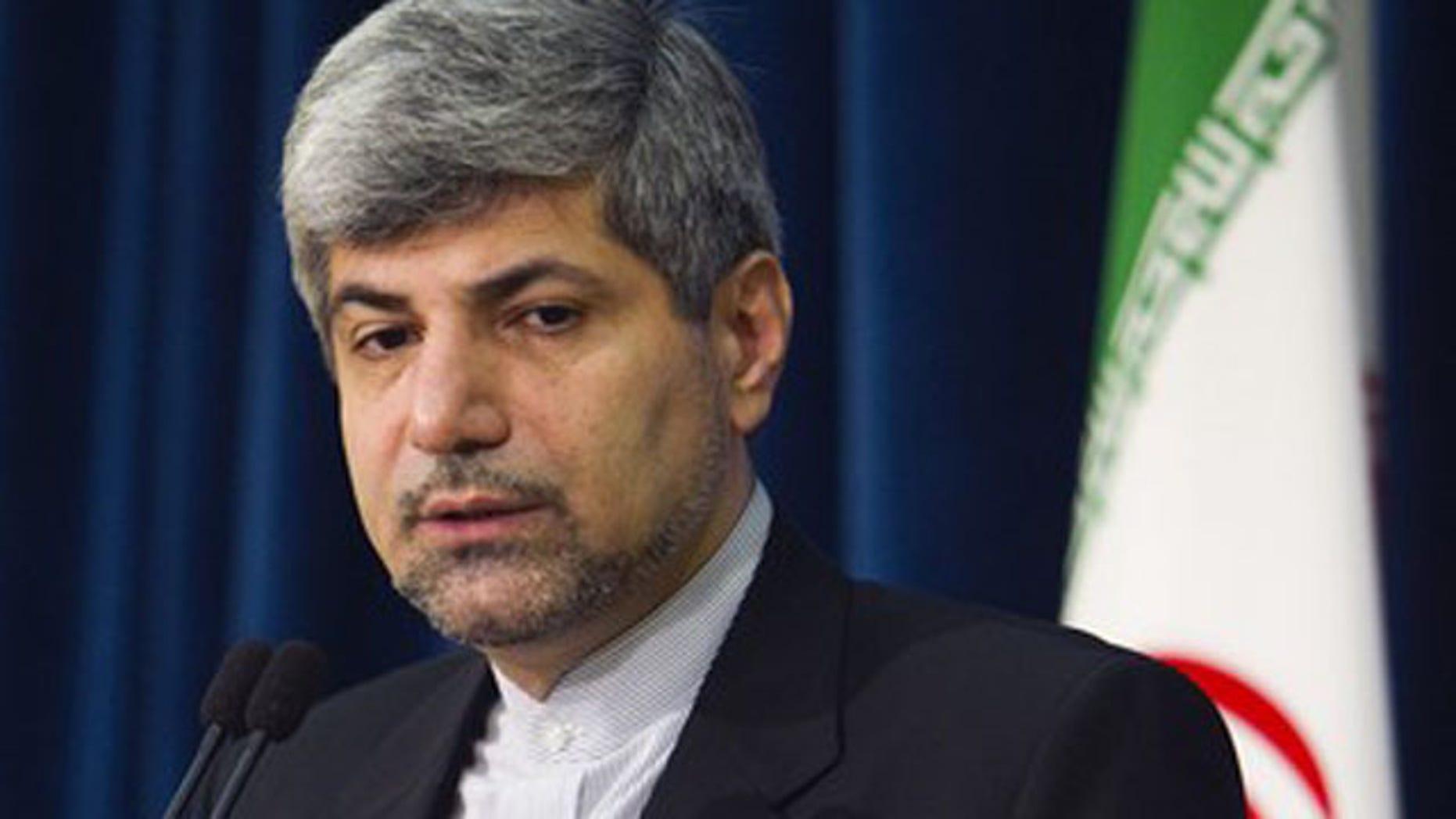 Jun. 28, 2011: Iran's Foreign Ministry spokesman Ramin Mehmanparast speaks to the media in Tehran.