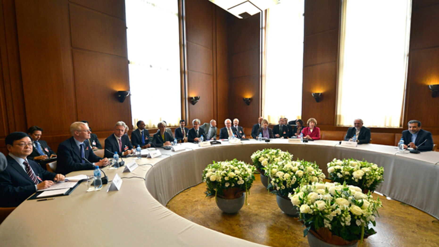 Nov. 7, 2013: A general view shows participants before the start of two days of closed-door nuclear talks at the United Nations offices in Geneva Switzerland.