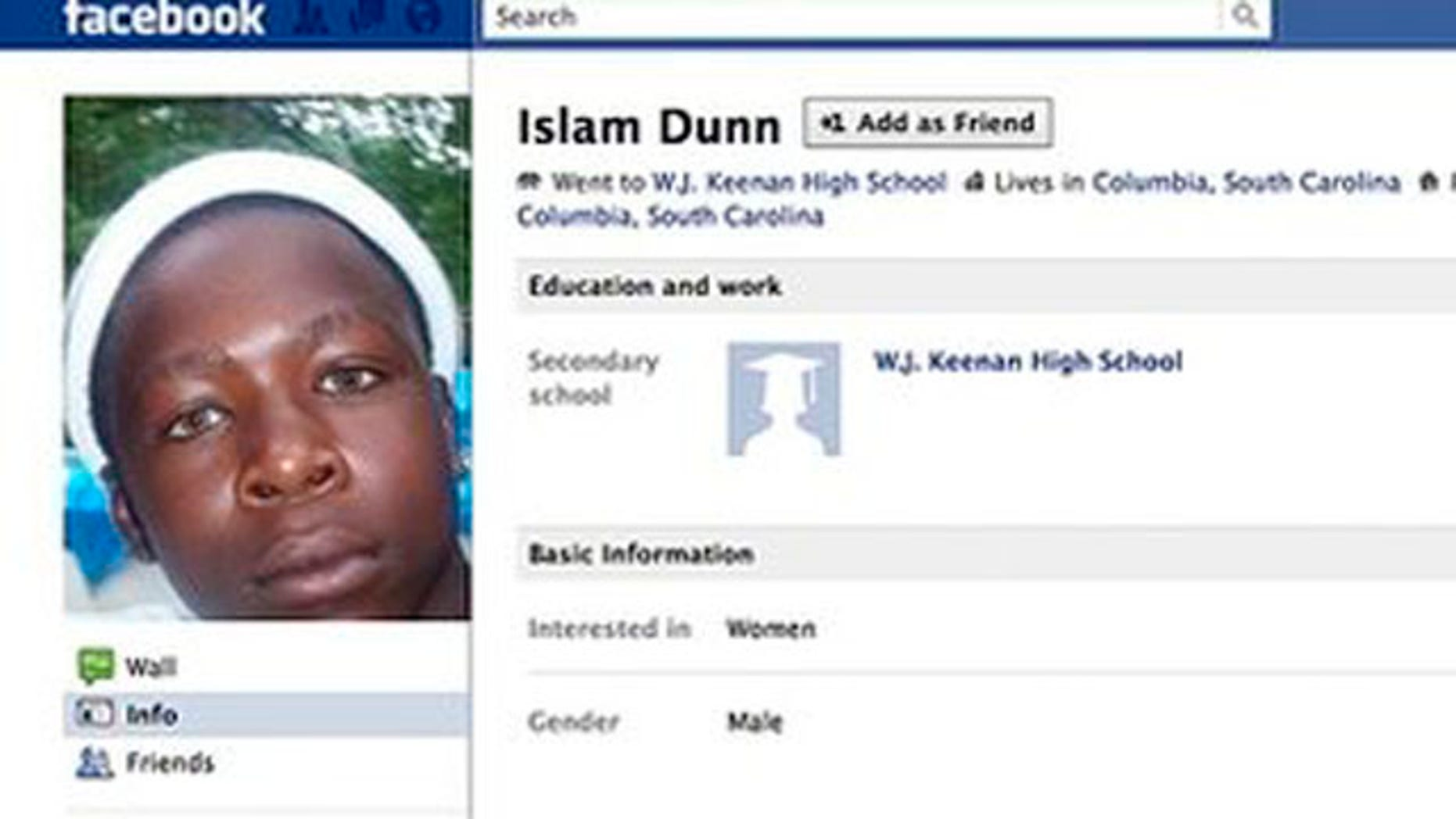 In this undated frame-grab image from Facebook, Islam Dunn's Facebook page is seen.