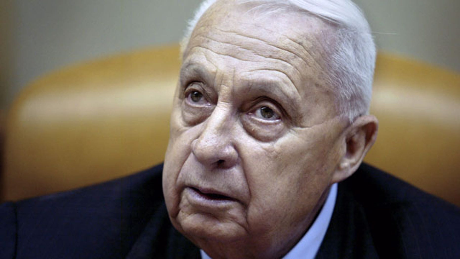 FILE -- In this Sunday Jan. 30, 2005 file photo, Israeli Prime Minister Ariel Sharon pauses during the weekly cabinet meeting in his Jerusalem office. (AP)
