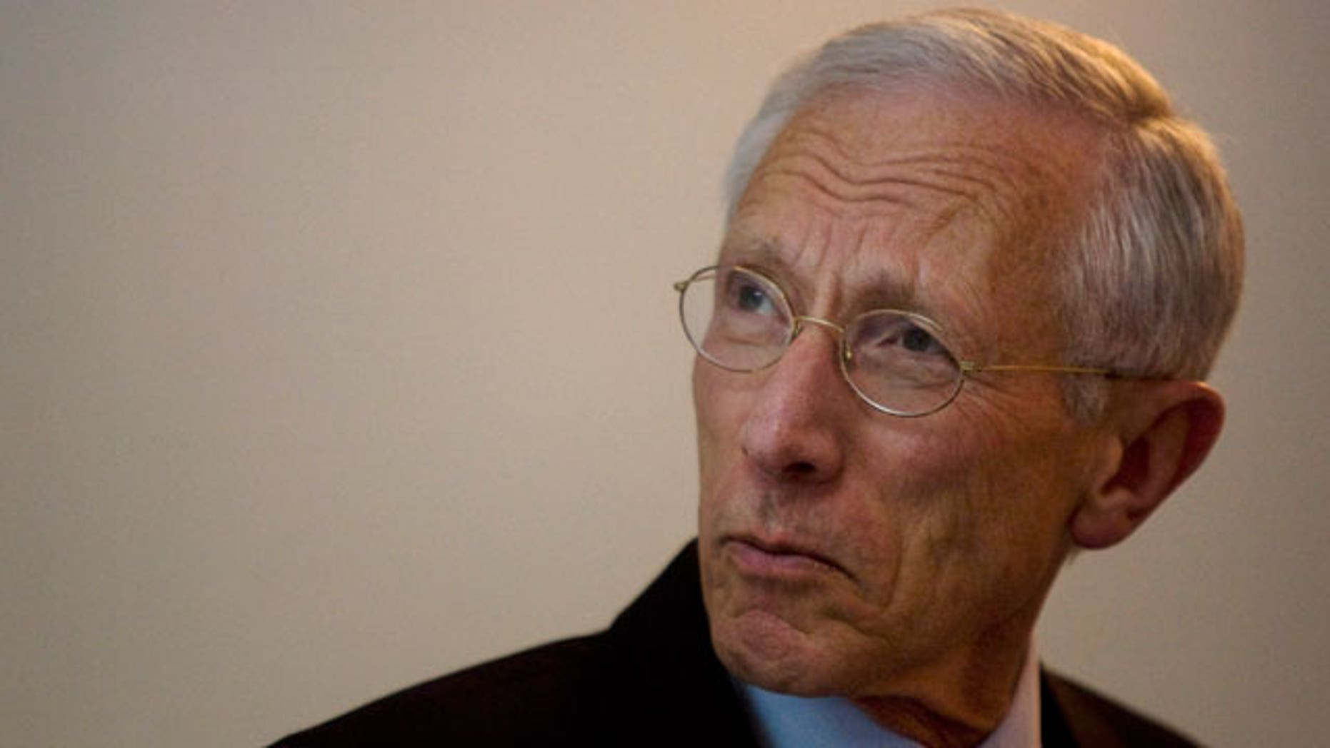 In this file photo taken on April 21, 2010, Governor of the Central Bank of Israel, Stanley Fischer, speaks during a press conference in Jerusalem. Fischer is interested in the top job at the International Monetary Fund and has received a number of phone calls in recent days from around the world encouraging him to apply, a person familiar with the banker's thinking told The Associated Press on Sunday, May 29, 2011.