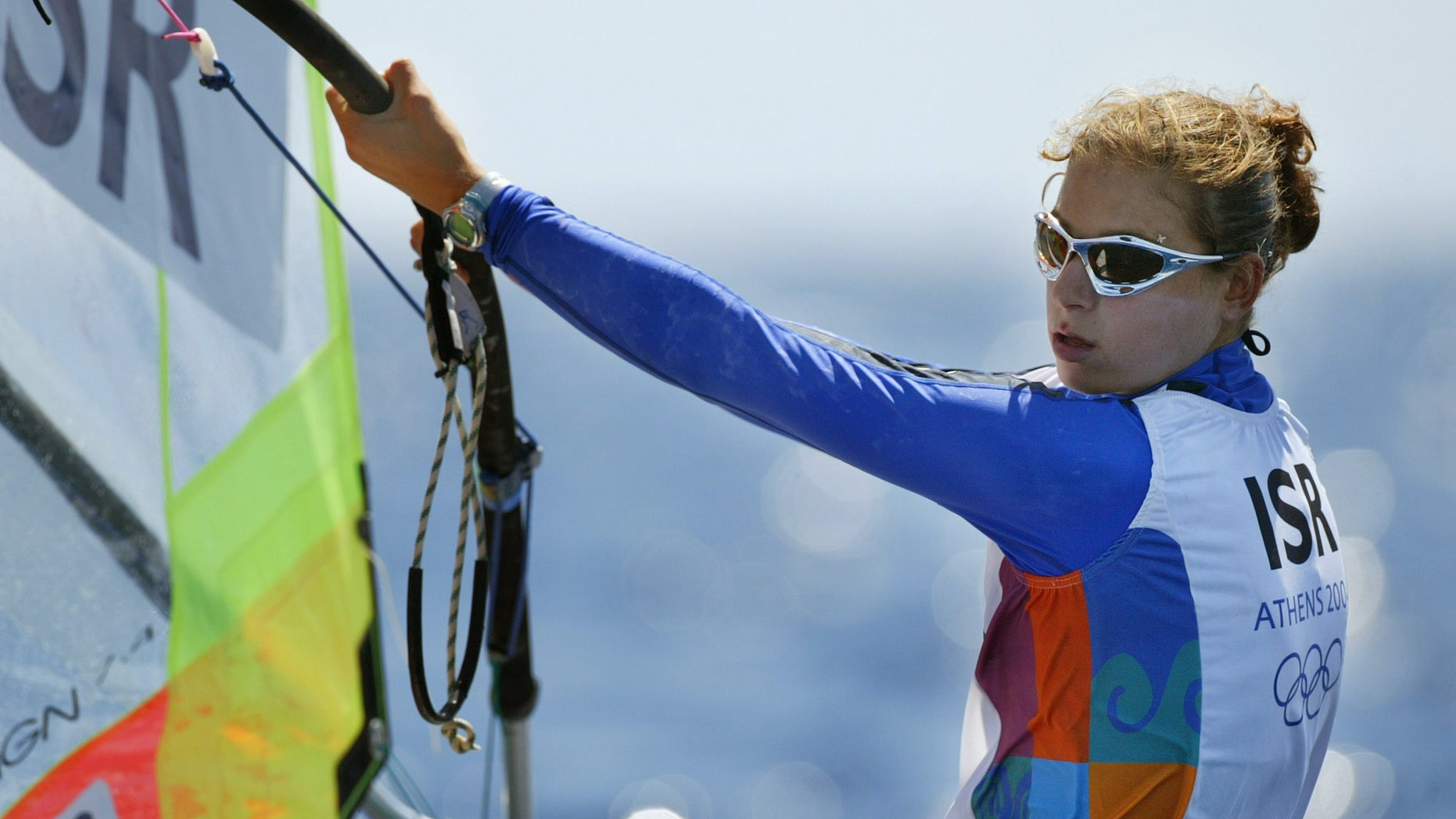 Aug. 23, 2004: In this file photo Israel's Lee Korzits sails during race 10 of the women's Mistral windsurfer sailing event at the 2004 Olympic Games in Athens, Greece.