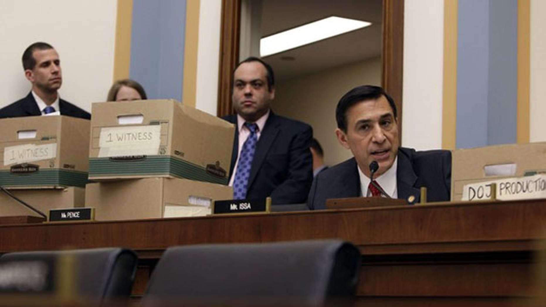 December 8, 2011: Rep. Darrell Issa (R-CA) asks a question to U.S. Attorney General Eric Holder during the House Judiciary Committee hearing on Capitol Hill in Washington.