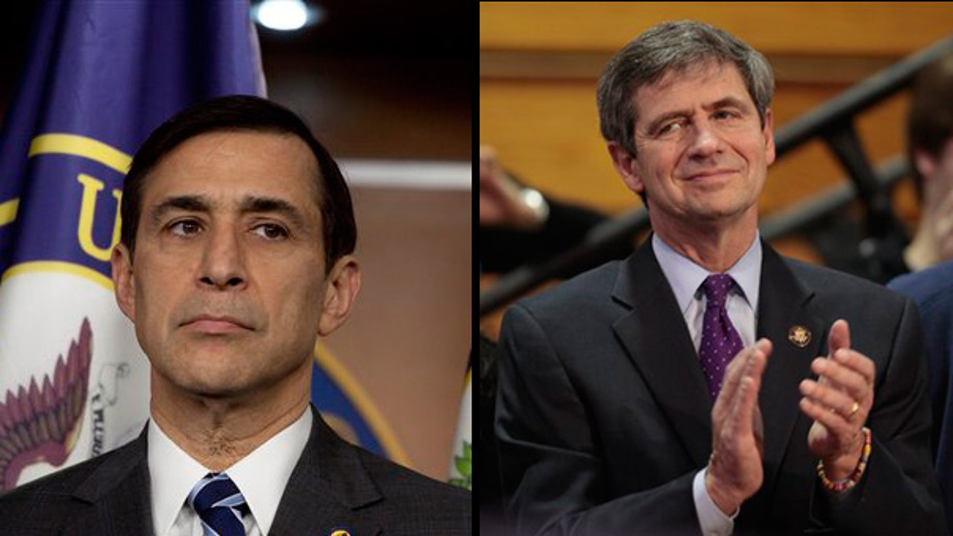 """Rep. Darrell Issa (r) said Tuesday that Rep. Joe Sestak's (l) allegation that the White House offered him a job to coax him out of a race against Arlen Specter could be an """"impeachable"""" offense. (AP)"""