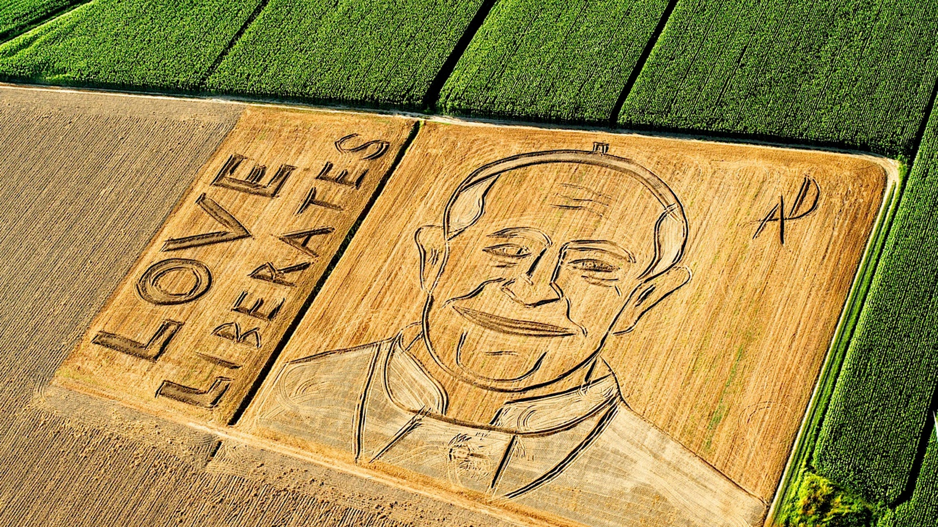 A giant portrait of Pope Francis by artist Dario Gambarini appeared near Verona, northern Italy, on Sept. 2, 2013.
