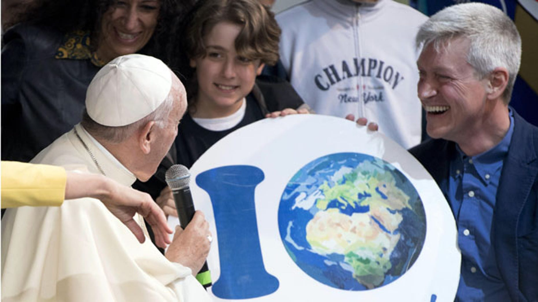 Pope Francis at an Earth Day event in Rome, Sunday, April 24, 2016.