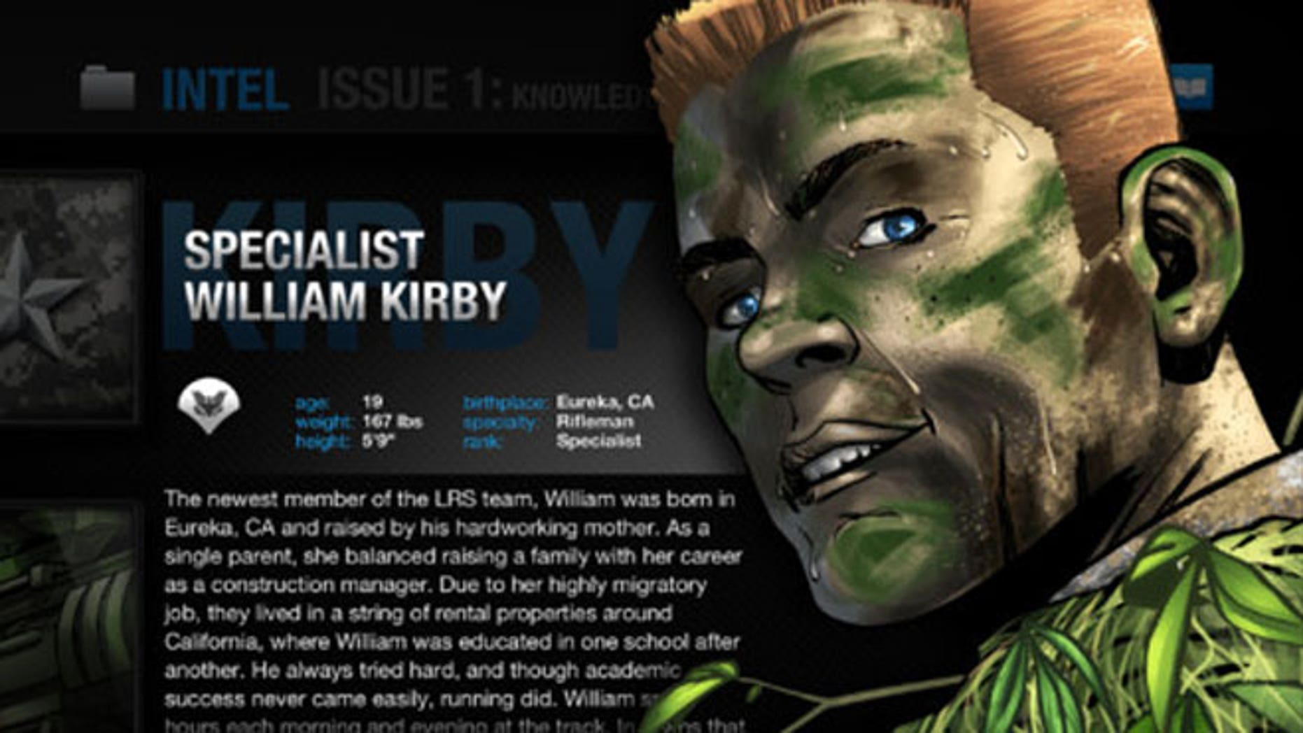 A screen grab of the military comic book available on iTunes.