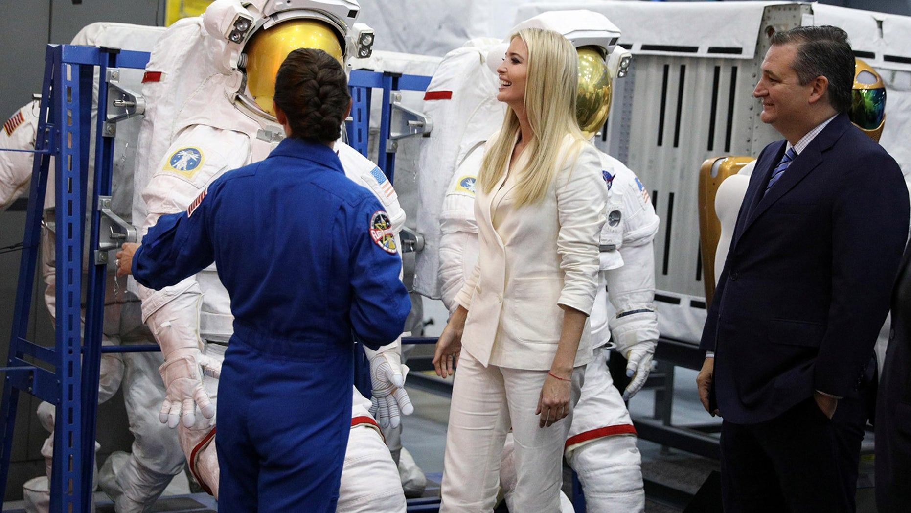 Ivanka Trump and U.S. Sen. Ted Cruz tour NASA's Johnson Space Center in Texas with astronaut Nicole Mann.