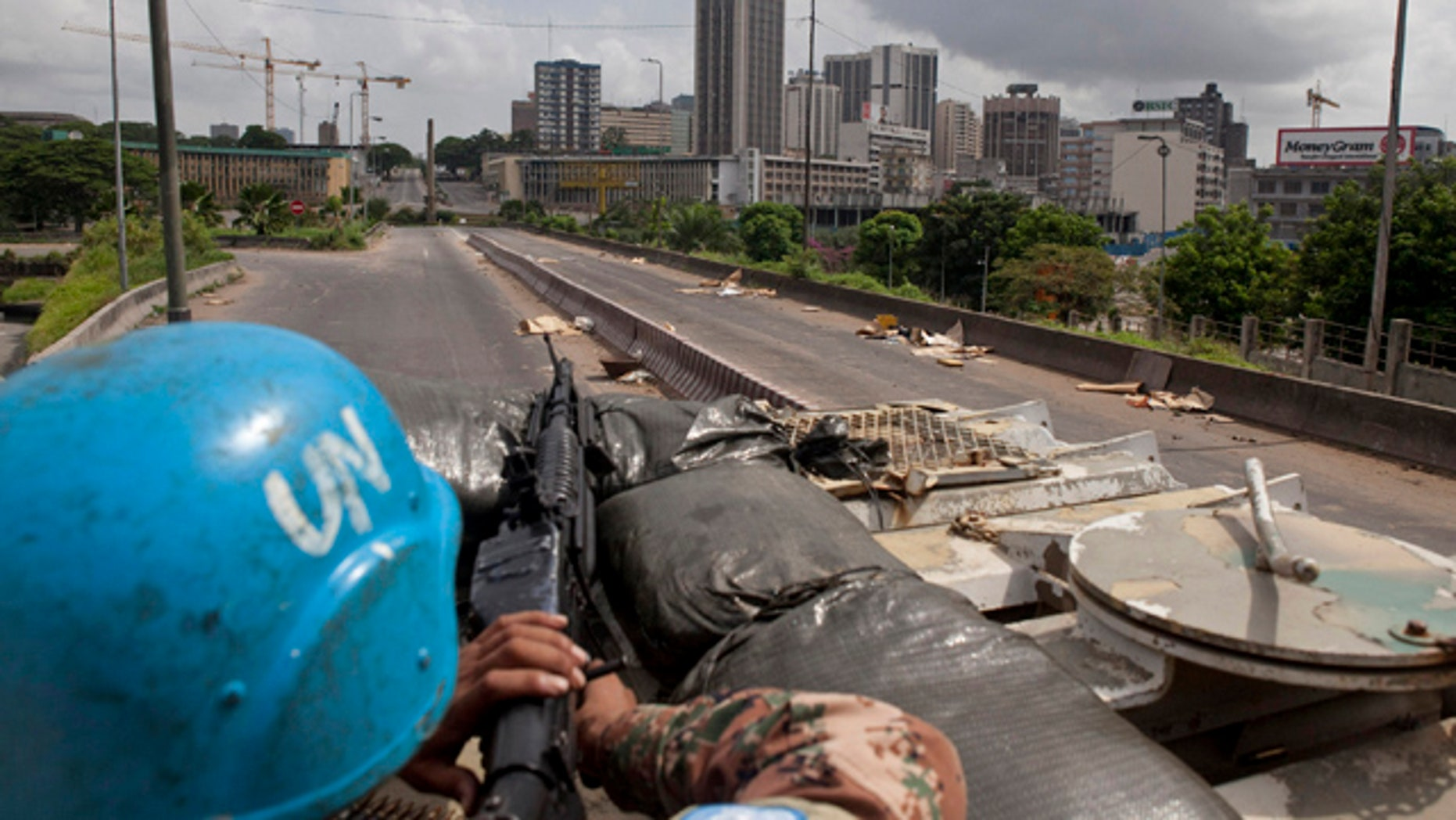 April 8, 2011: UN peacekeepers patrol in the streets of the city of Abidjan, Ivory Coast.