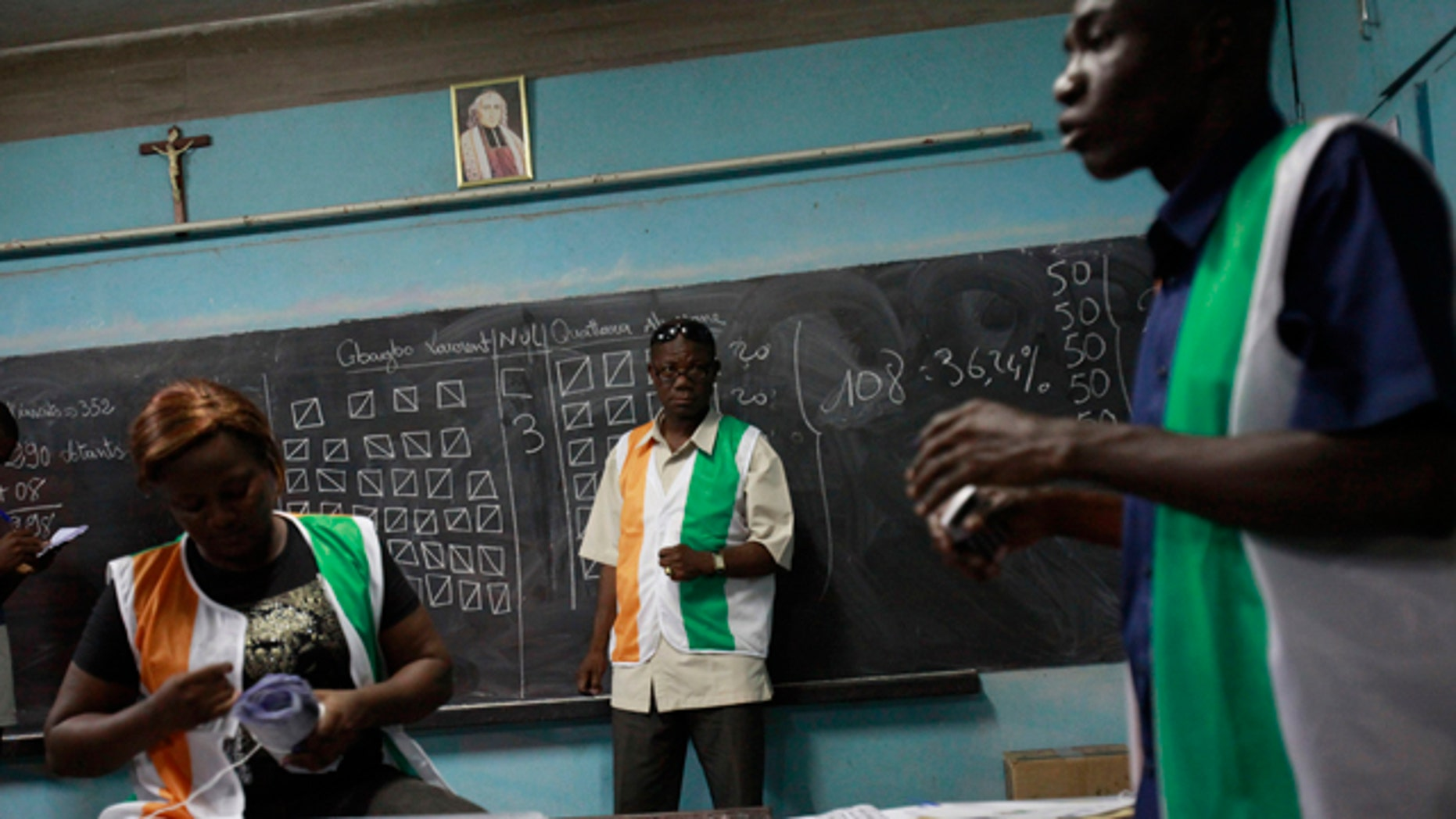 Nov. 28, 2010: Poll workers finish counting votes at a polling station in the Treichville neighborhood of Abidjan, Ivory Coast.