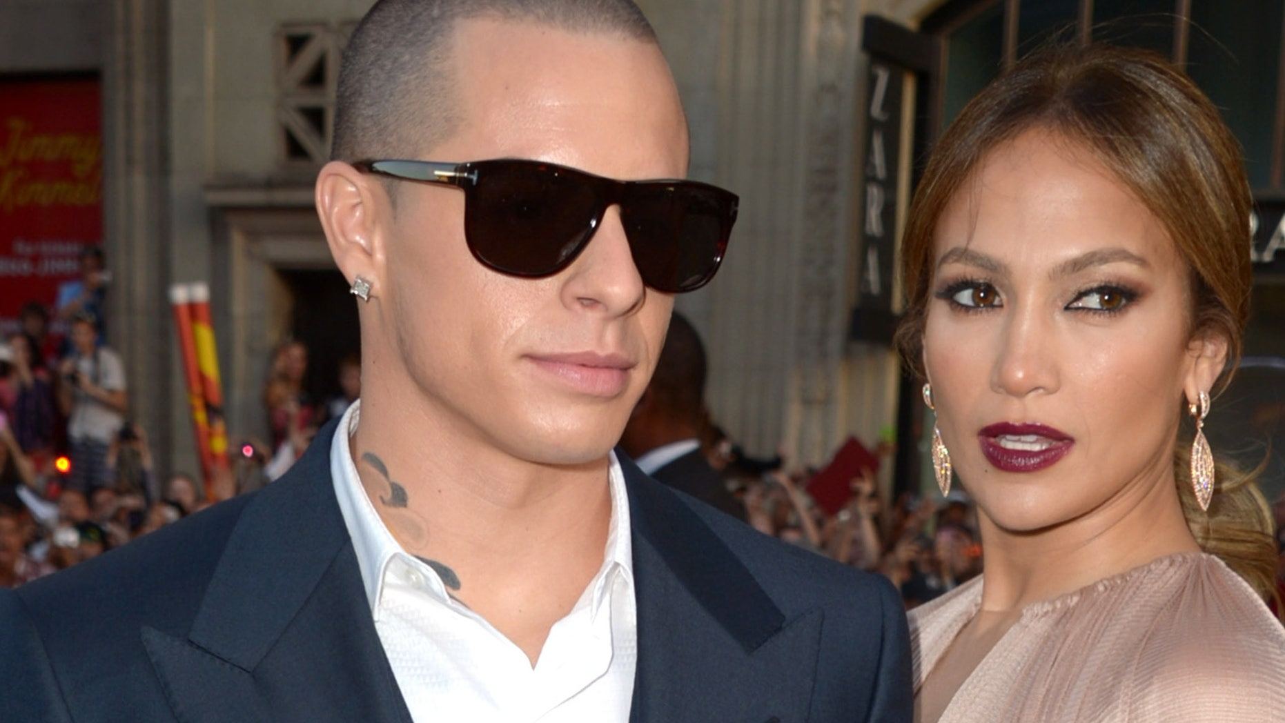 "HOLLYWOOD, CA - MAY 14:  Dancer Casper Smart and actress Jennifer Lopez arrive at the premiere of Lionsgate's ""What To Expect When You're Expecting"" held at Grauman's Chinese Theatre on May 14, 2012 in Hollywood, California.  (Photo by Kevin Winter/Getty Images)"