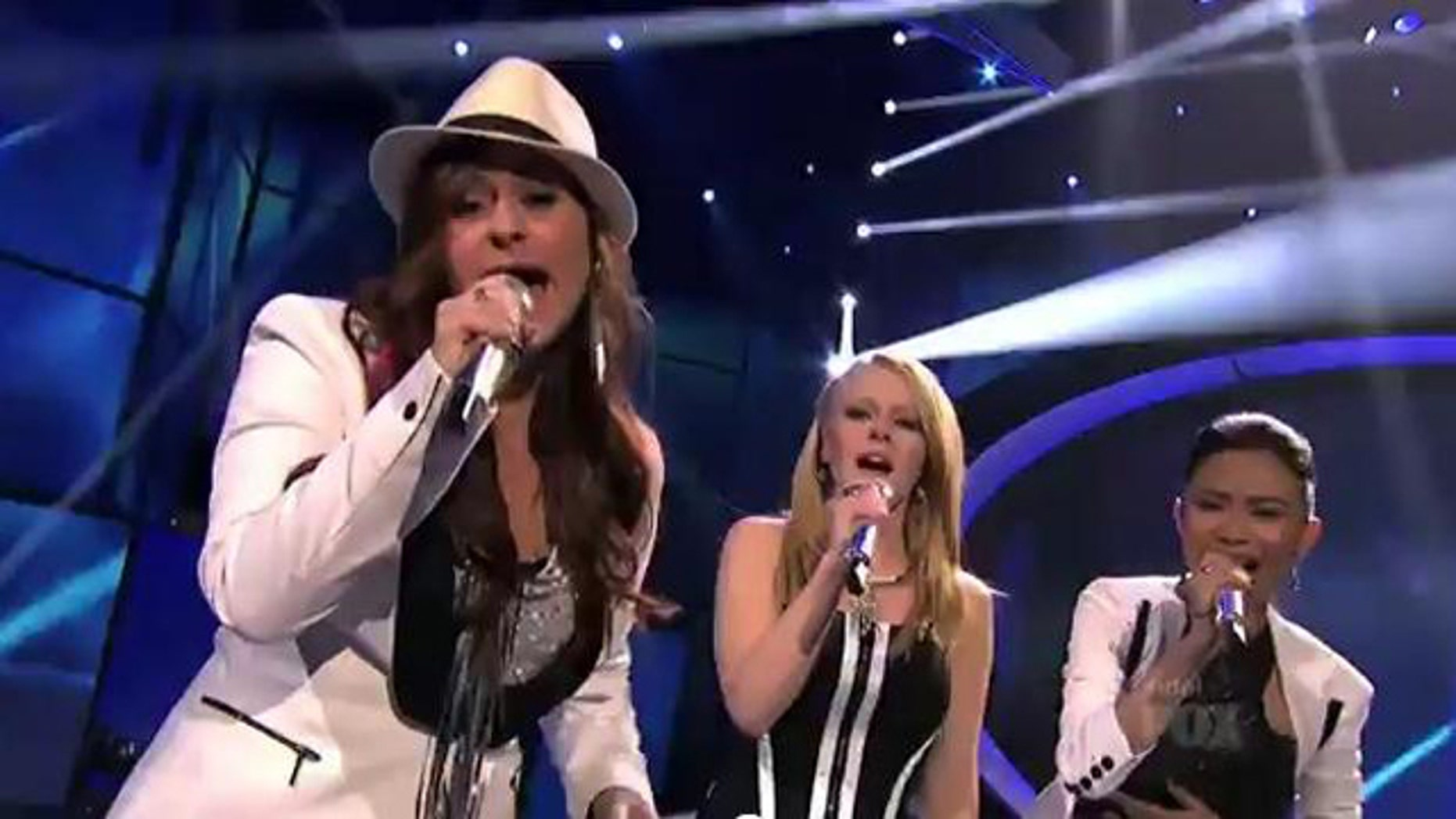 March 28, 2012: Skylar Laine, Hollie Cavannagh and Jessica Sanchez sing a medley of Madonna songs on American Idol Wednesday evening.