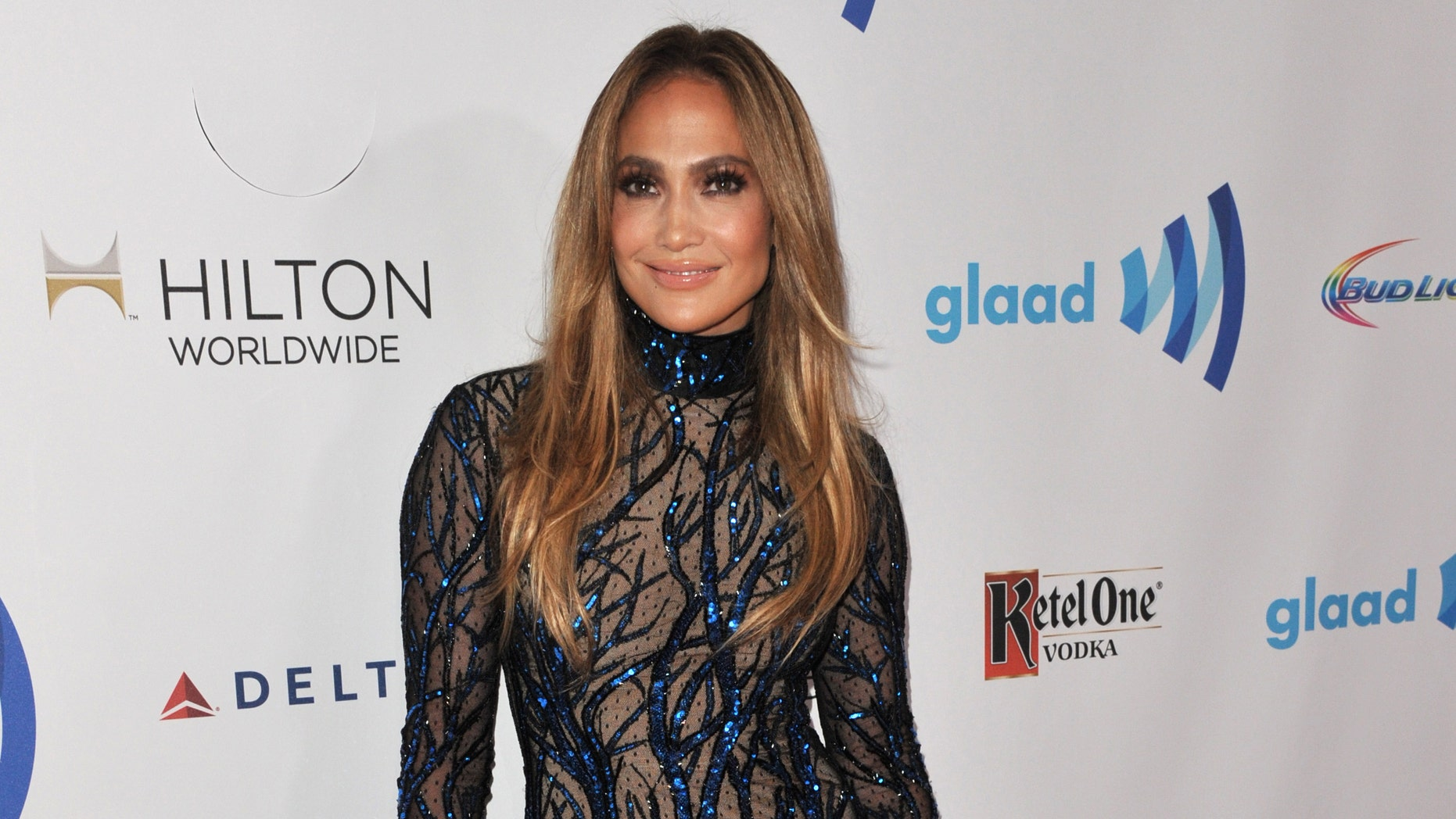 Jennifer Lopez arrives at the 25th Annual GLAAD Media Awards on Saturday, April 12, 2014. (Richard Shotwell/Invision/AP)