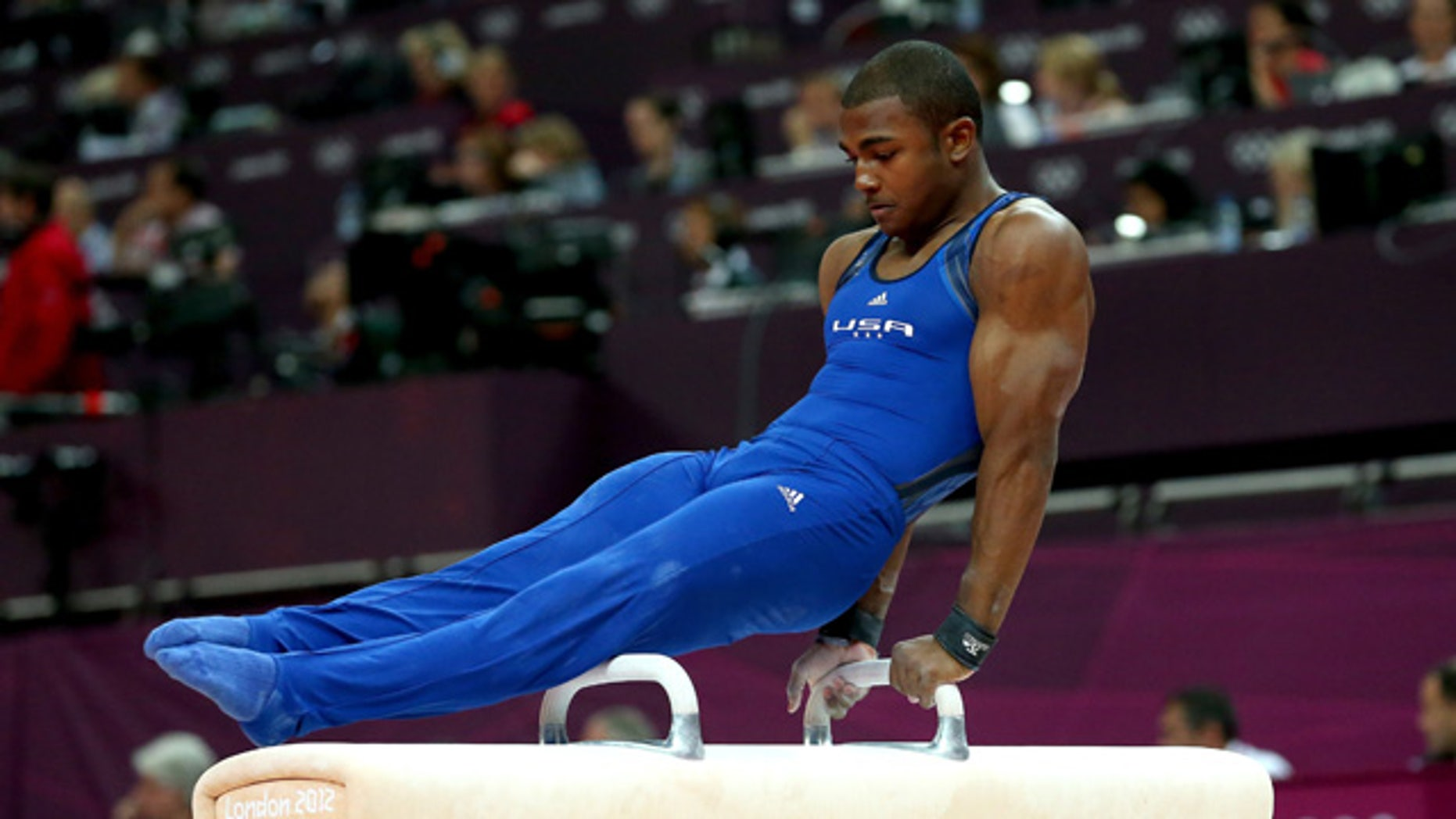 July, 28, 2012: John Orozco of the United States of America competes in the pommel horse in the Artistic Gymnastics Men's Team qualification on Day 1 of the London 2012 Olympic Games at North Greenwich Arena in London, England.