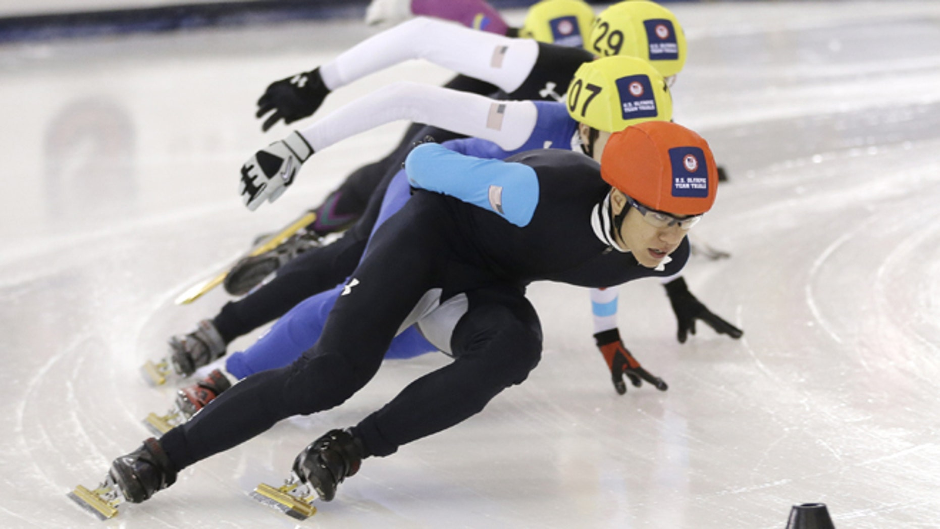 Jan. 5, 2014: In this file photo, J.R. Celski leads the pack as he competes in the men's 1,000-meter race at the U.S. Olympic short track speedskating trials in Kearns, Utah. The 23-year-old from Federal Way, Wash., will compete at his second Olympics, looking to add to the pair of bronze medals he won at the 2010 Vancouver Games.