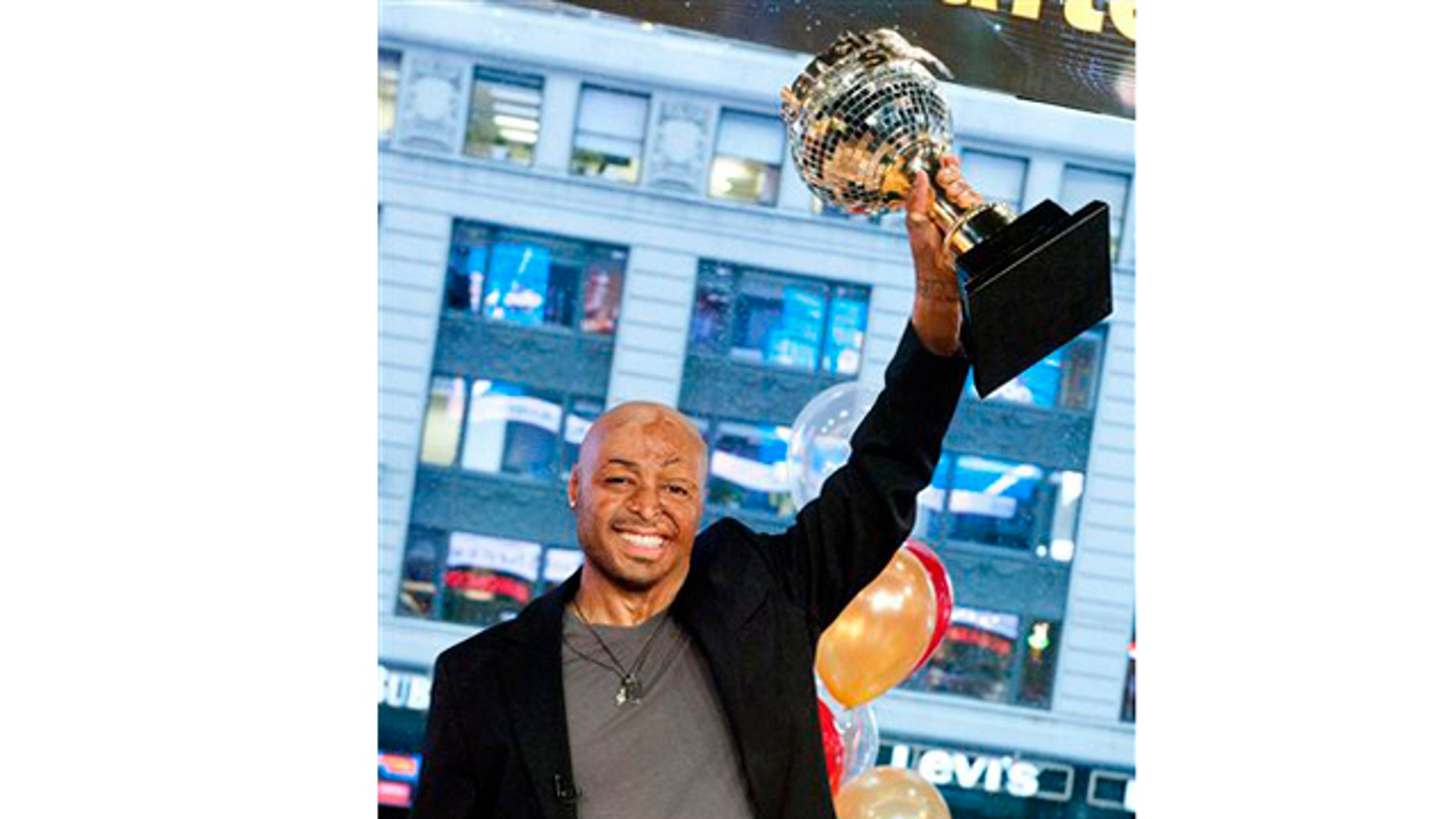 "Nov. 23, 2011: War veteran and actor J.R. Martinez, winner of the ""Dancing with the Stars"" celebrity dance competition, appears on Good Morning America in New York on Wednesday."