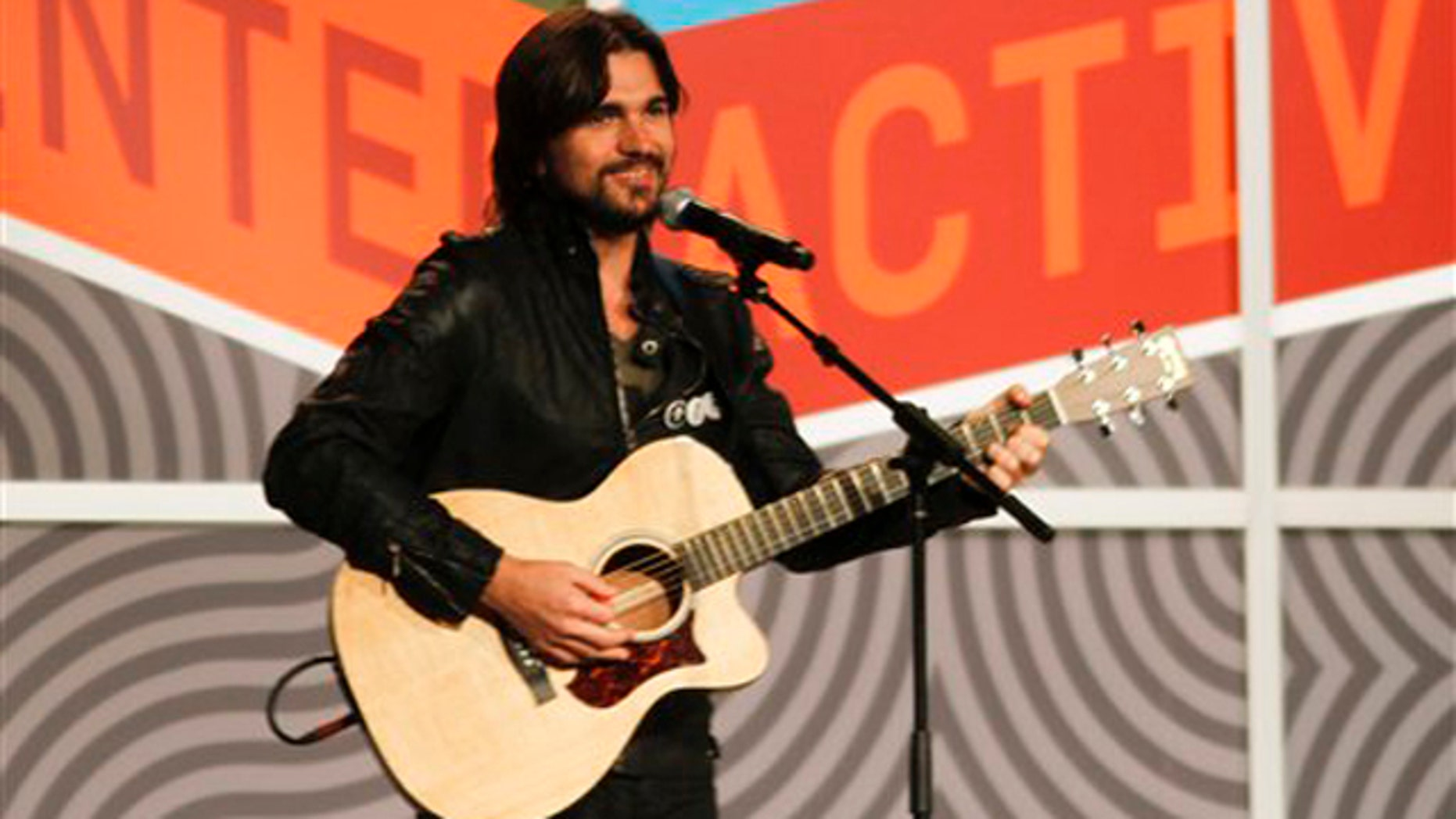 March 15, 2012: Colombian singer Juanes performs a Woody Guthrie song during the SXSW Music Festival in Austin, Texas.