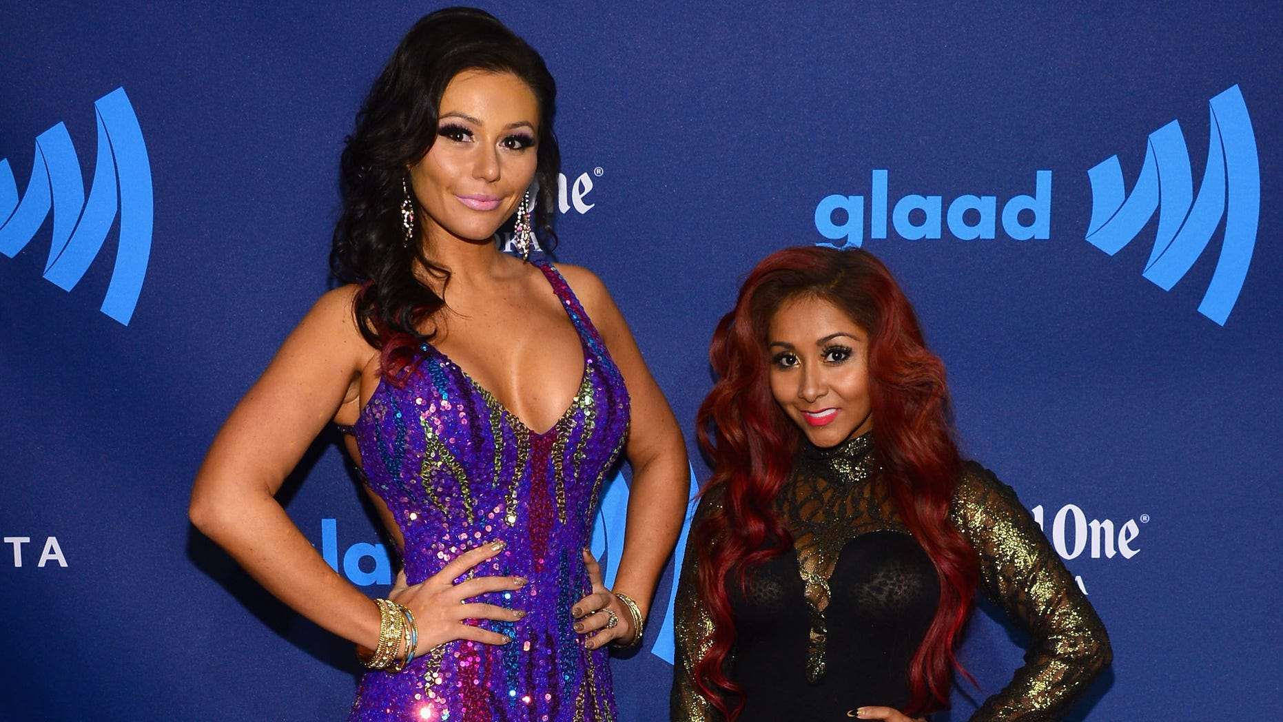 March 16, 2013:  JWoww and Snooki attend the 24th Annual GLAAD Media Awards in New York City.