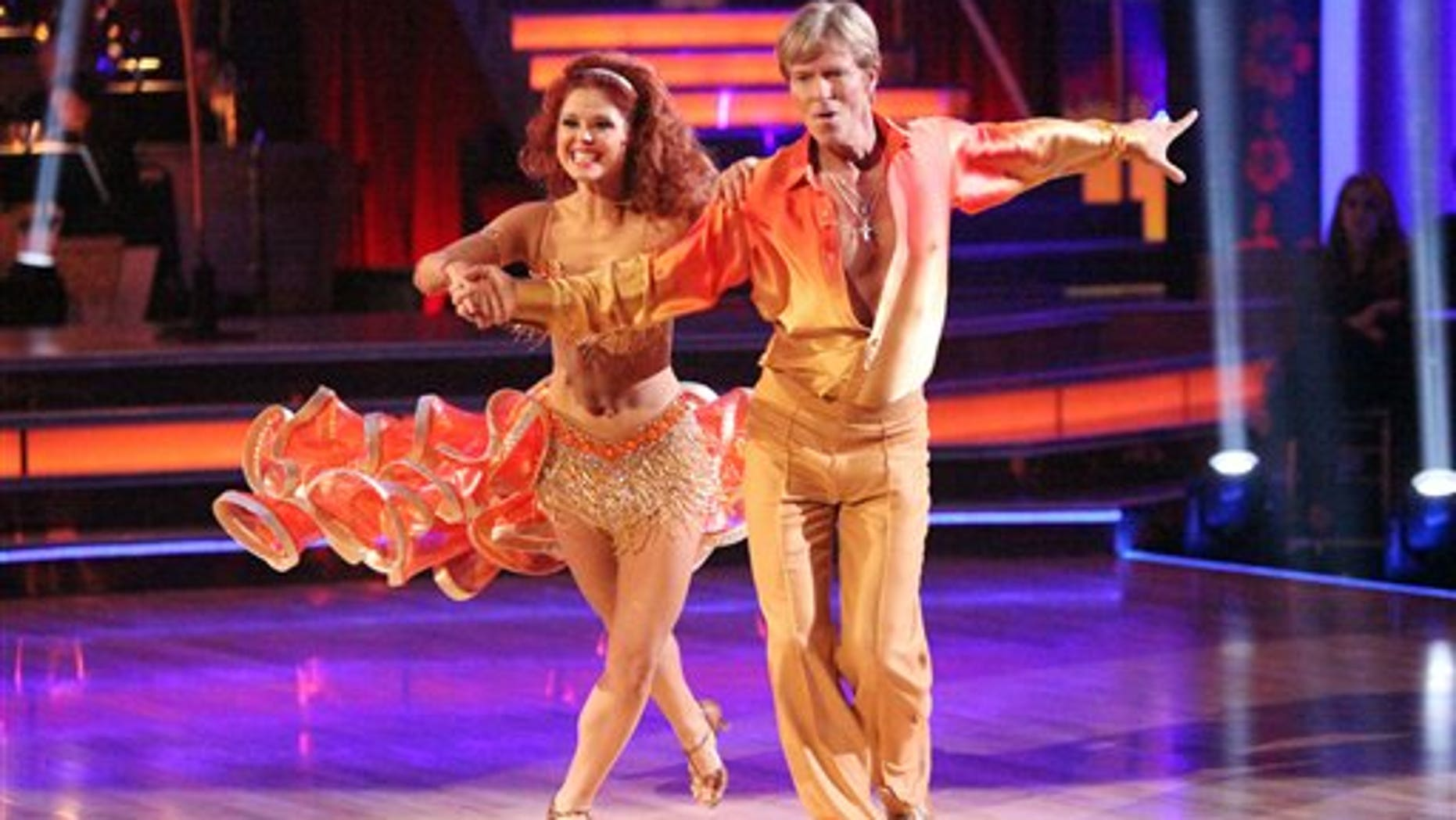 "In this April 2, 2012 image released by ABC,  actor Jack Wagner and his partner Anna Trebunskaya perform on the ""Dancing With the Stars."""