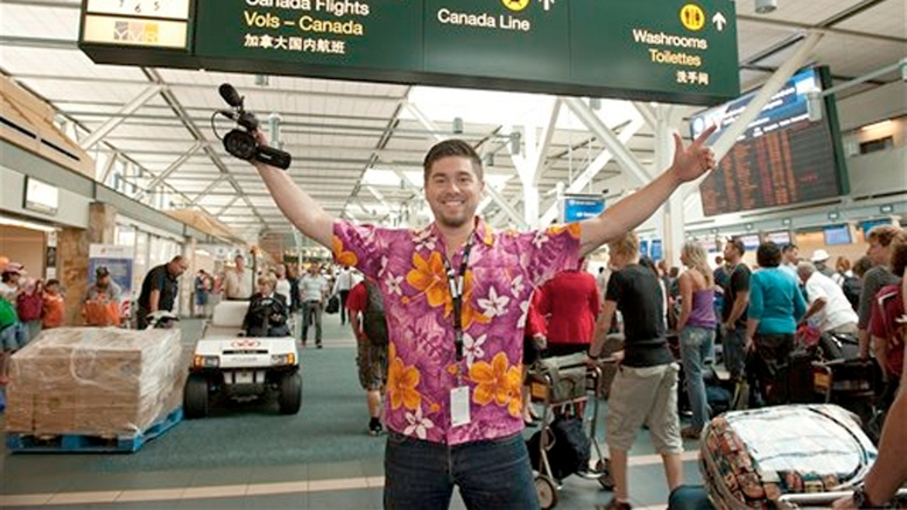 August 2011: Jaeger Mah at the Vancouver International Airport in Canada, where he's been living since he embarked on his unusual sojourn as the winner of a contest sponsored by the airport to mark its 80th year.