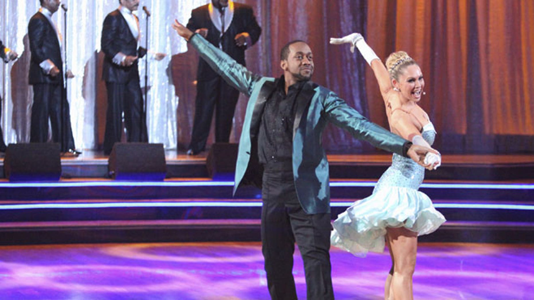 "In this April 23, 2012 photo released by ABC, actor Jaleel White, left, and his partner Kym Johnson perform on the celebrity dance competition series, ""Dancing with the Stars,"" in Los Angeles."