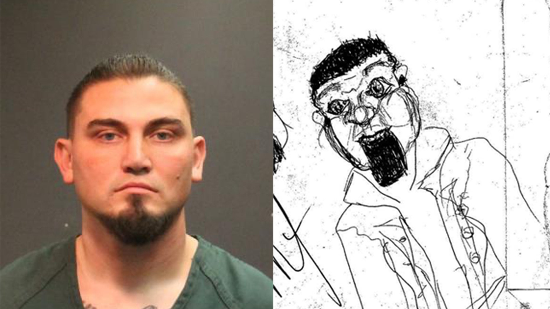 James Anthony Lawlor (left) and a sketch by a homeless person he is accused of attacking (right).