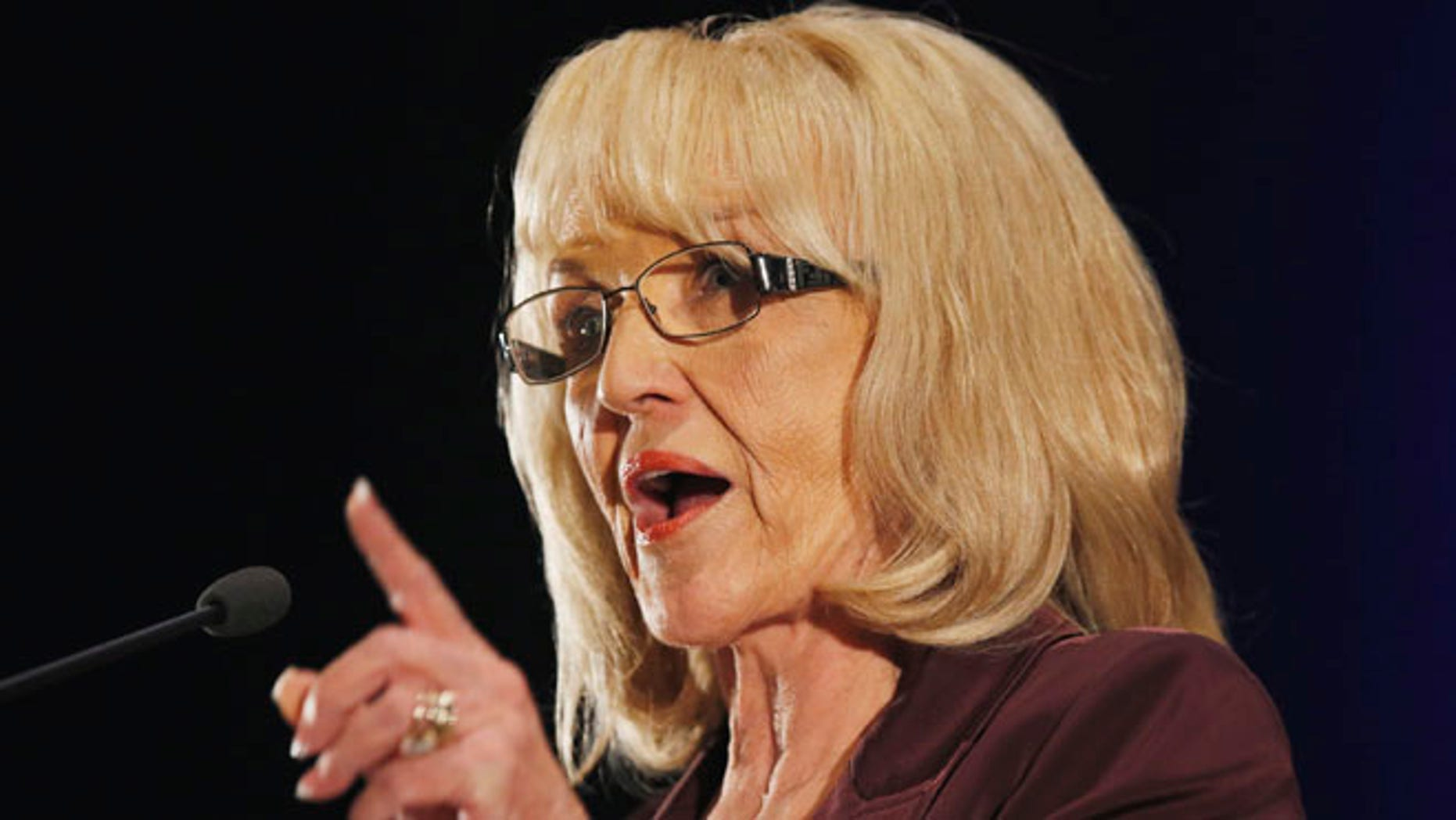 Arizona Gov. Jan Brewer speaks at the annual Arizona Chamber of Commerce and Industry legislative luncheon Friday, Jan. 10, 2014, in Phoenix.